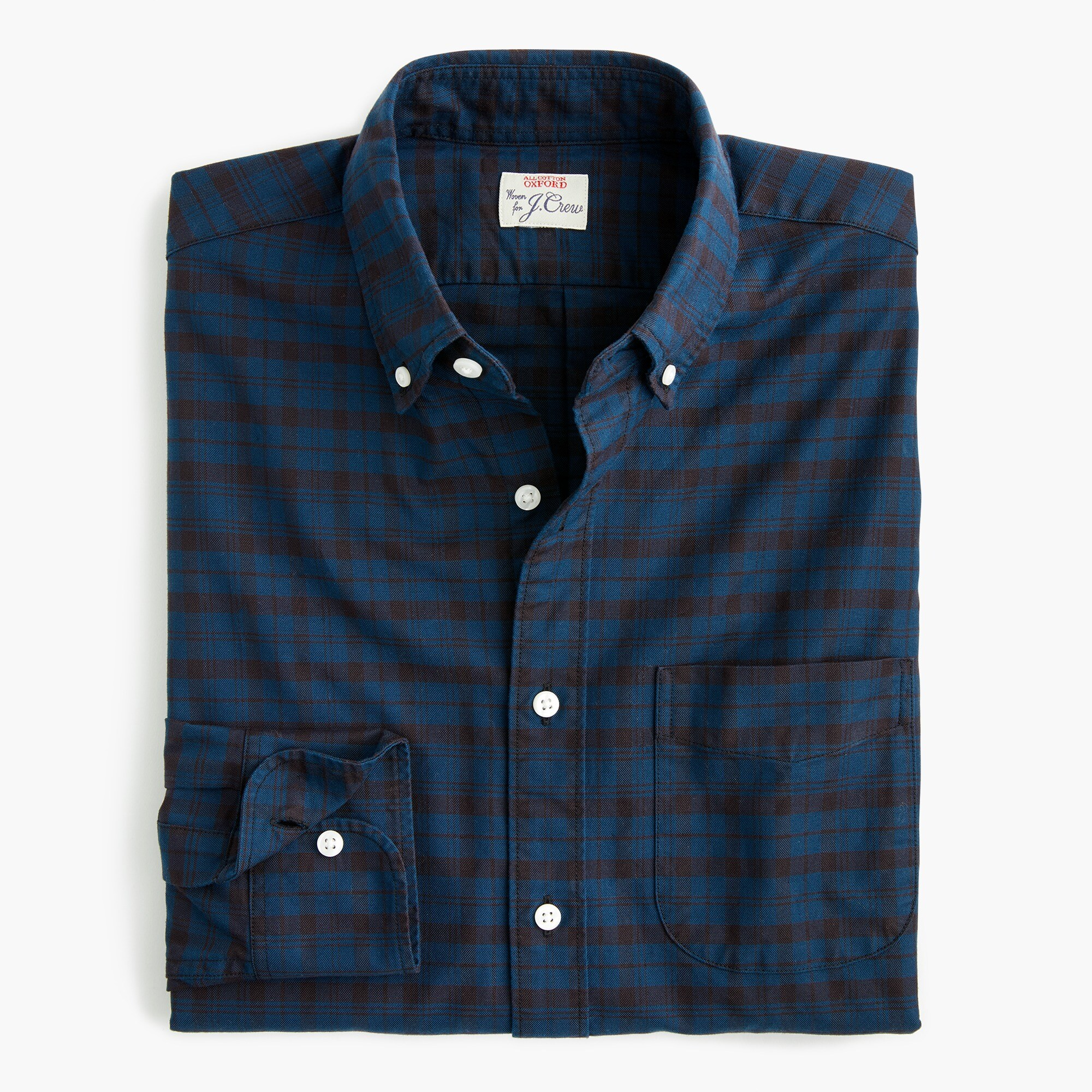 mens American Pima cotton oxford shirt with mechanical stretch in contrast plaid