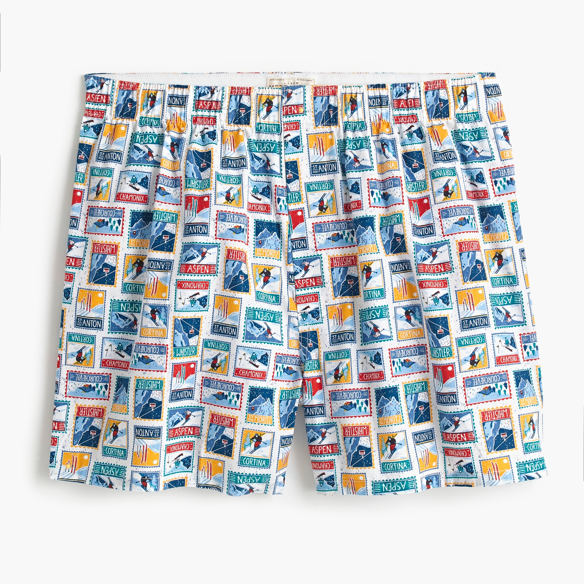 mens J.Crew Mercantile boxer in ski stamps print