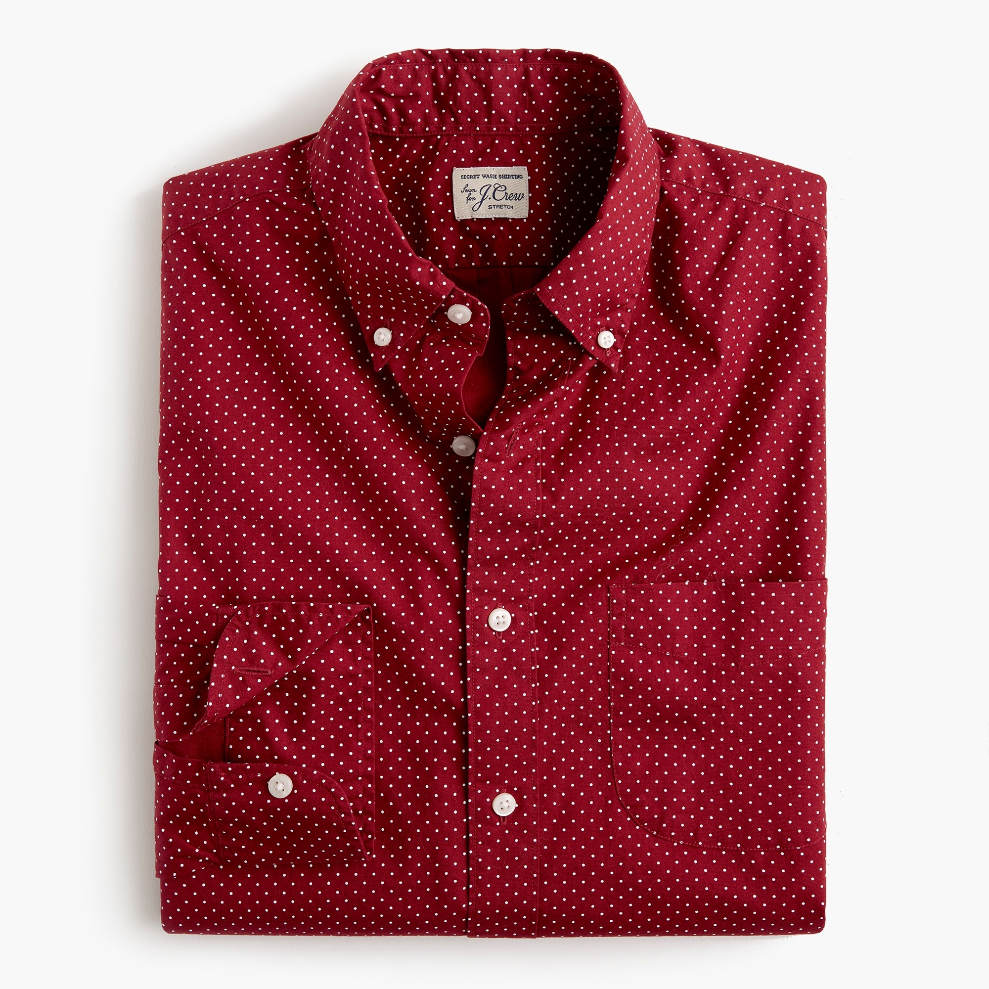 mens Slim stretch Secret Wash shirt in small dot print