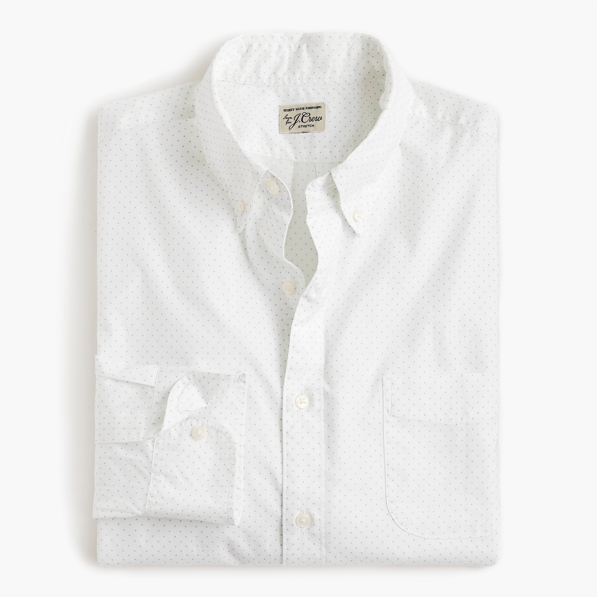 mens Stretch Secret Wash shirt in small dot print