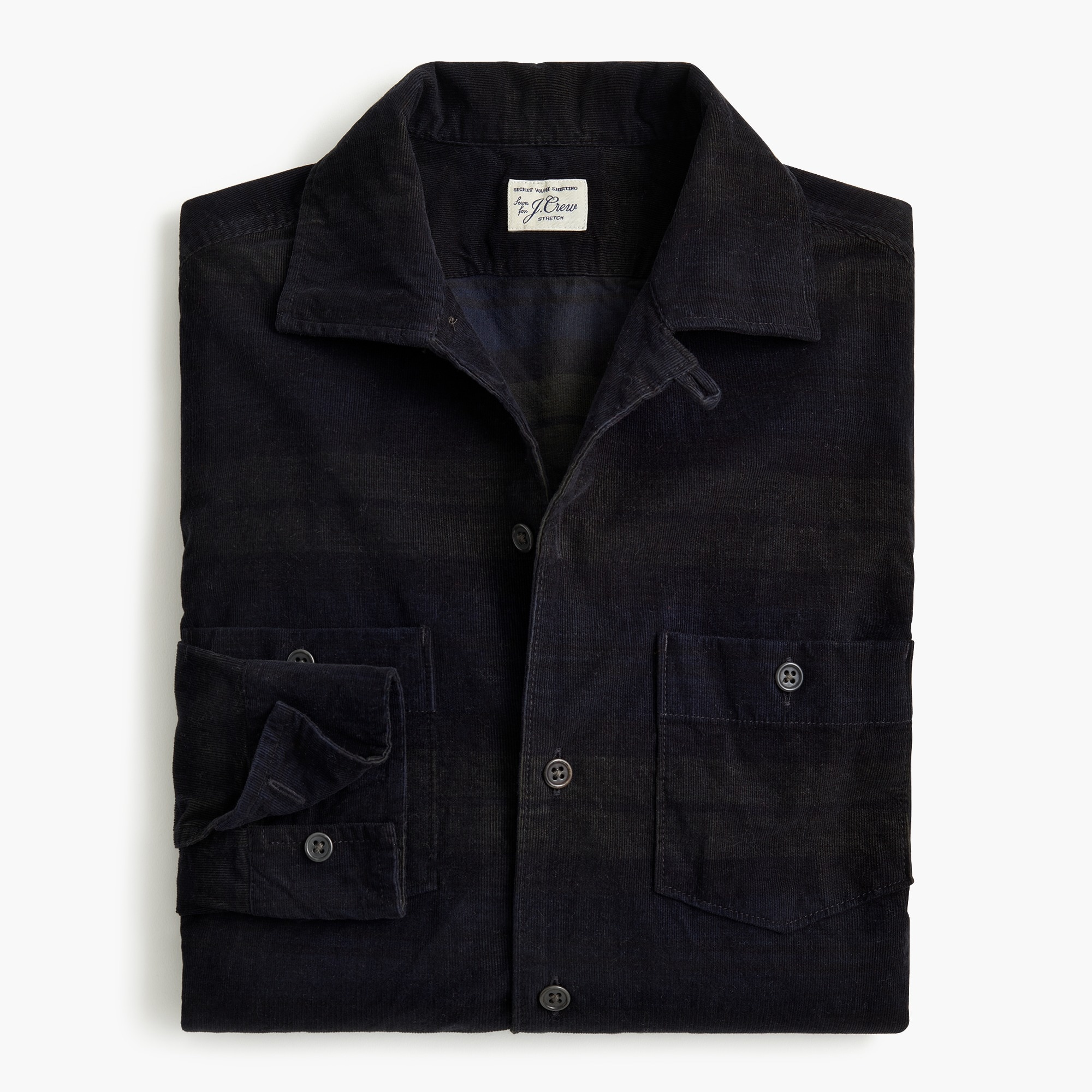 mens Stretch corduroy workshirt in Black Watch tartan