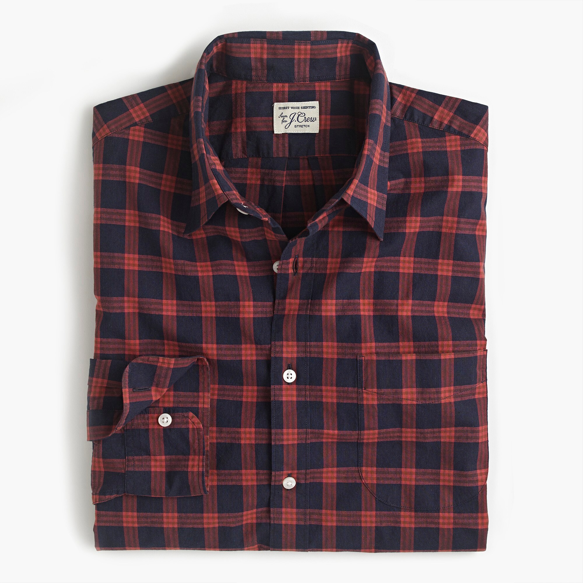 mens Stretch Secret Wash shirt in glen plaid