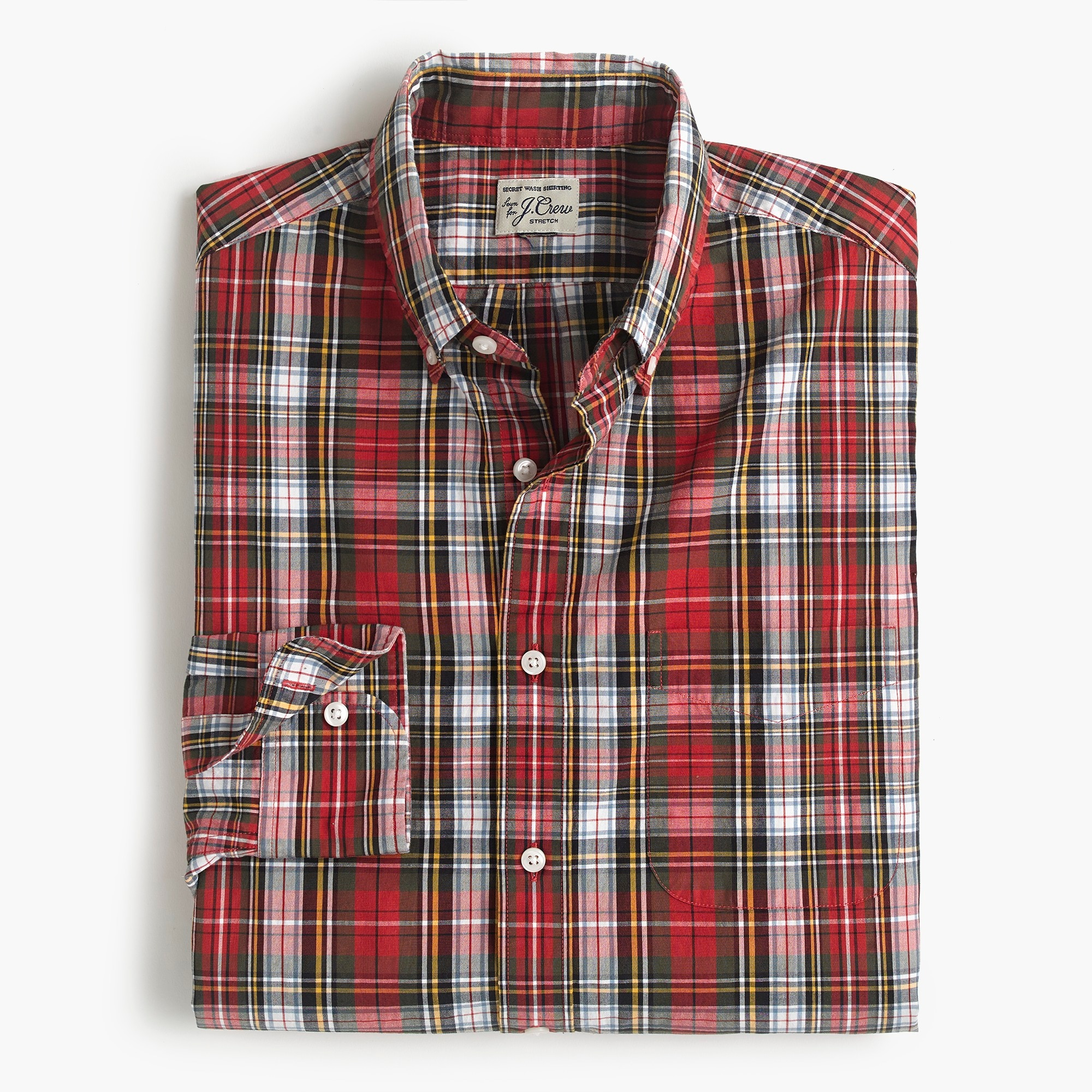 mens Slim stretch Secret Wash shirt in Magee tartan
