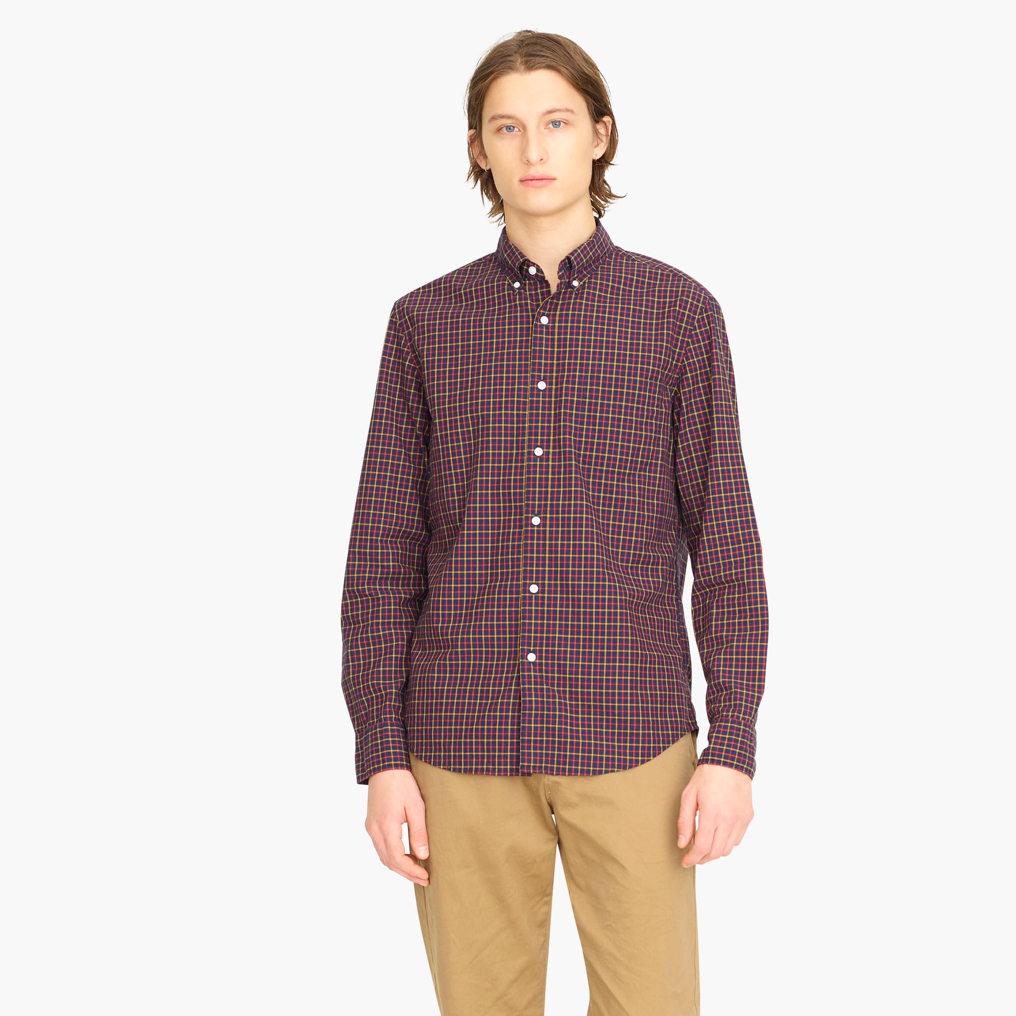 mens Stretch Secret Wash shirt in poplin check print