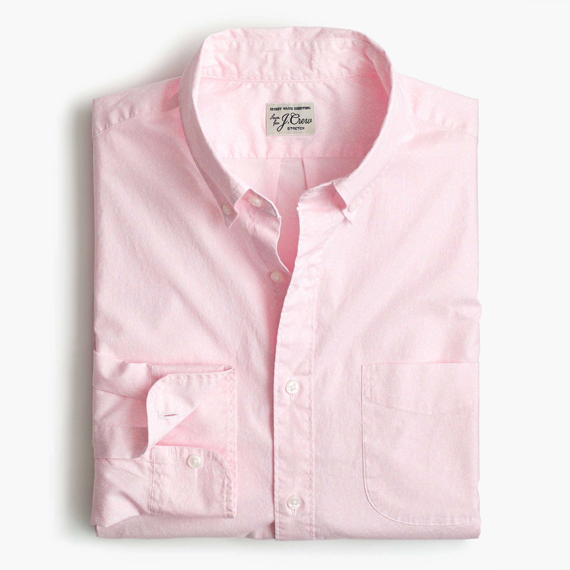 mens Stretch Secret Wash shirt in speckled pink