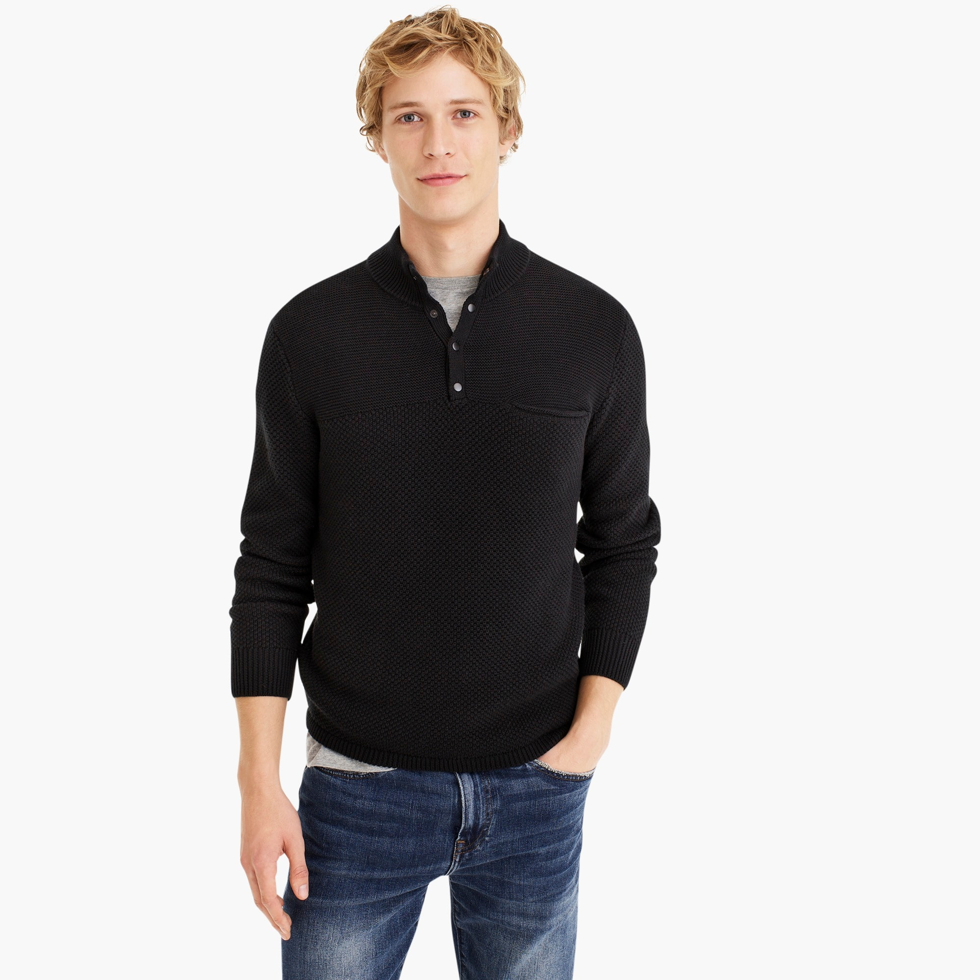 mens Thermal cotton half-button pullover sweater
