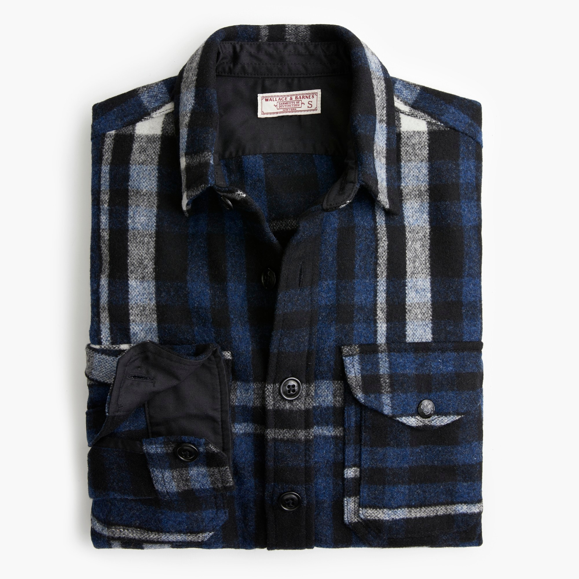mens Wallace & Barnes heavyweight overshirt in blue plaid