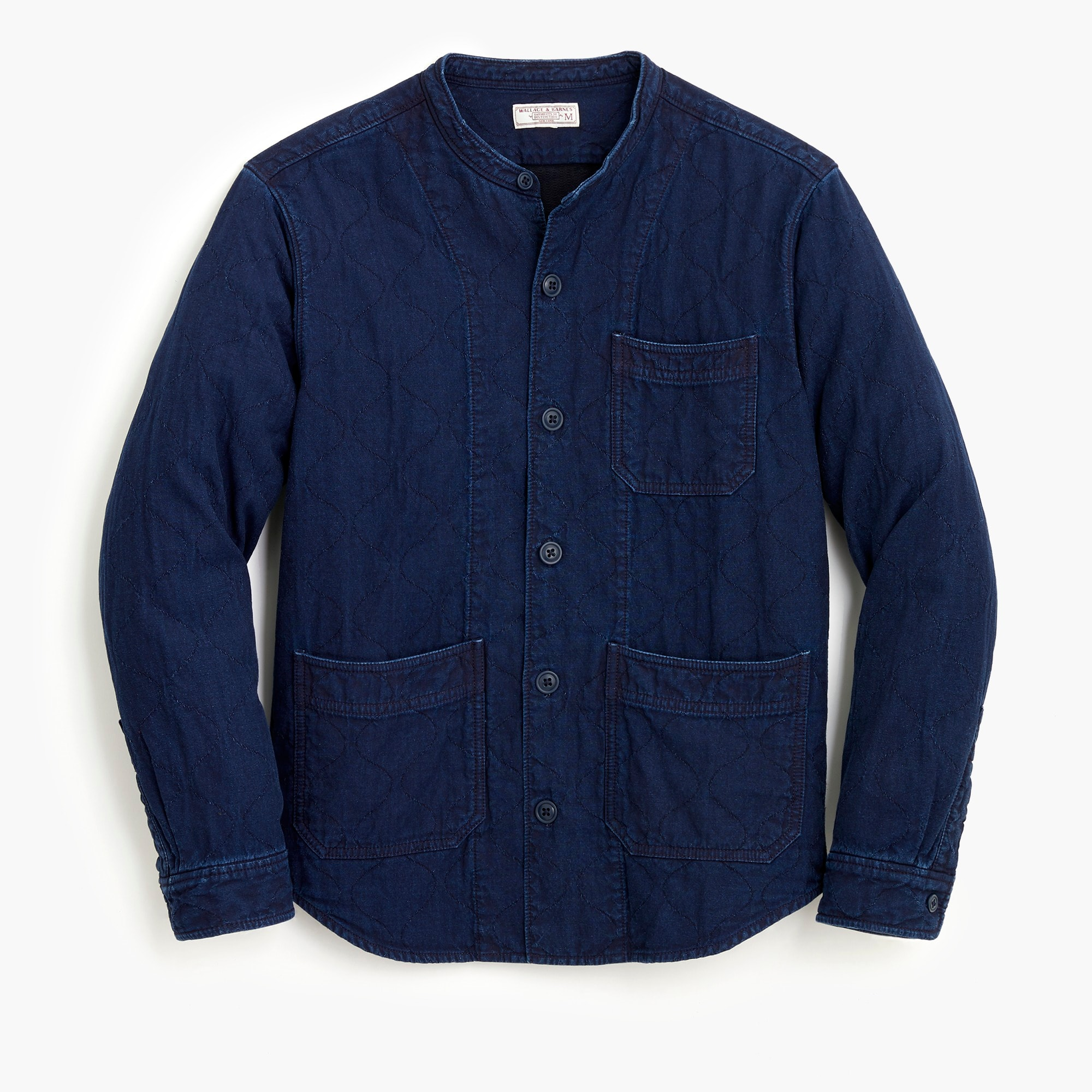 mens Quilted indigo shirt-jacket with band collar