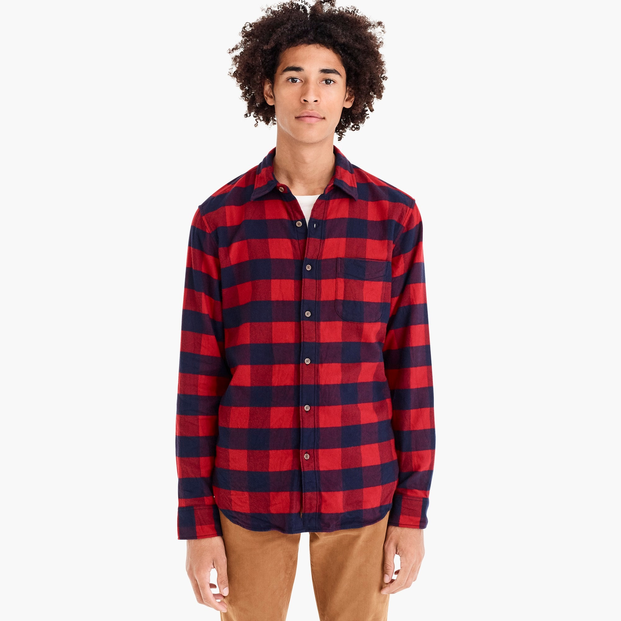 mens Brushed midweight flannel shirt in buffalo plaid