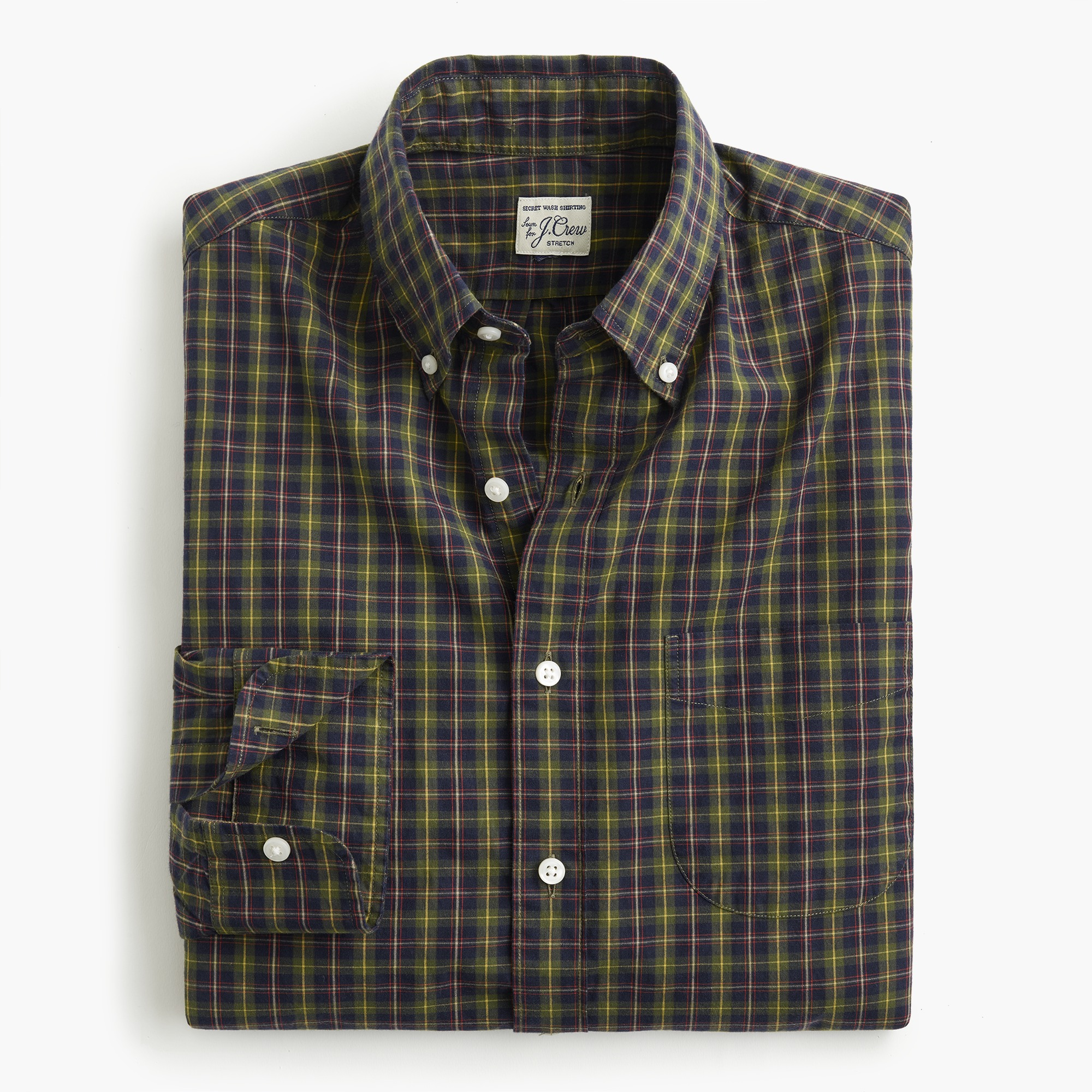 mens Stretch Secret Wash shirt in Ashford tartan