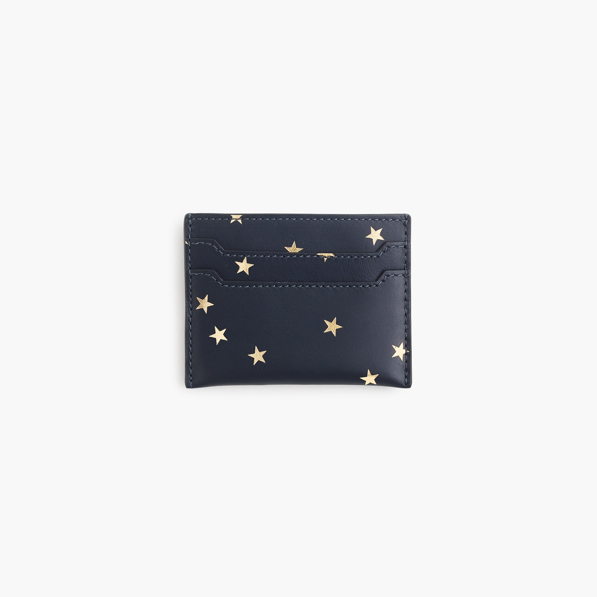 womens Italian leather card case in stars