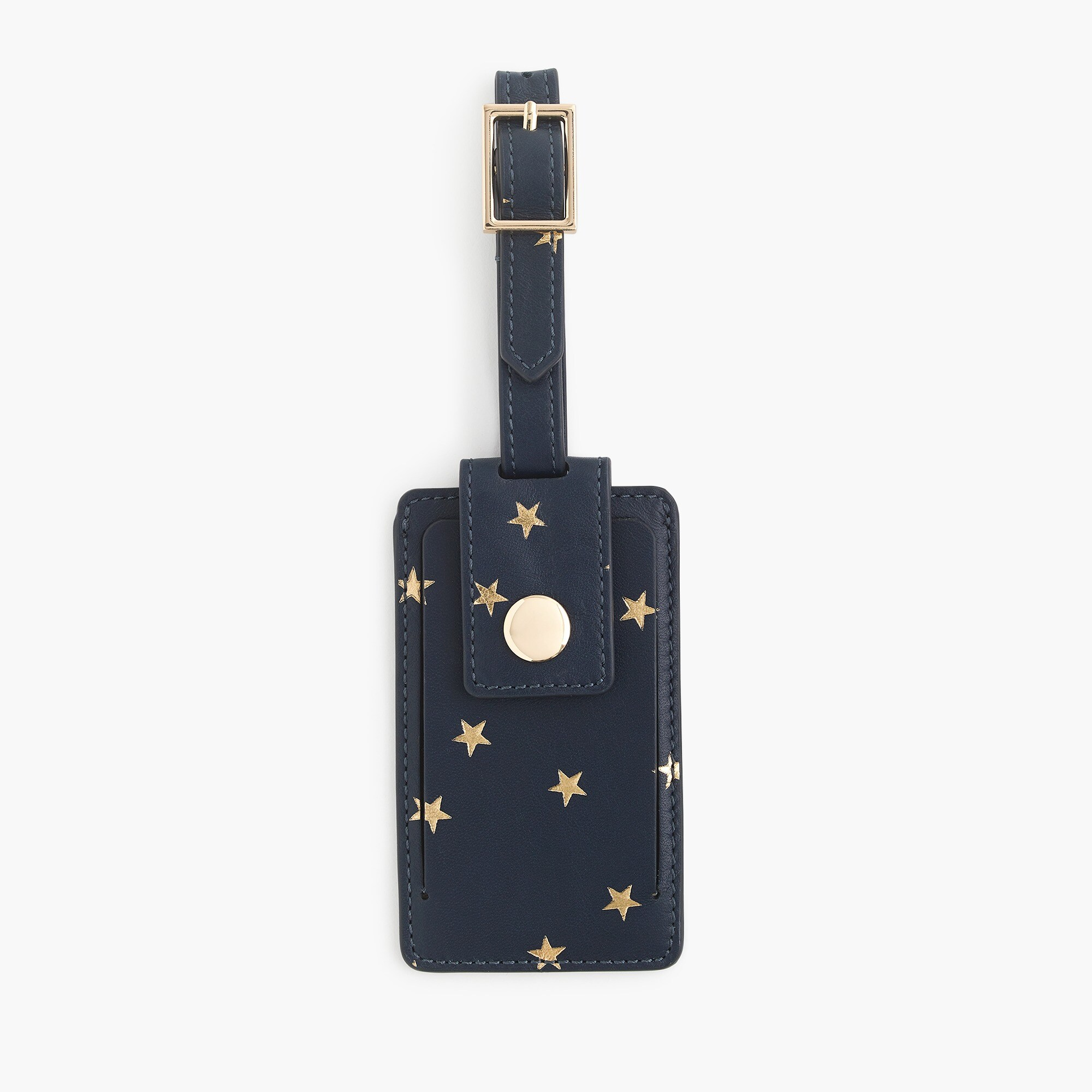 womens Luggage tag in metallic printed leather