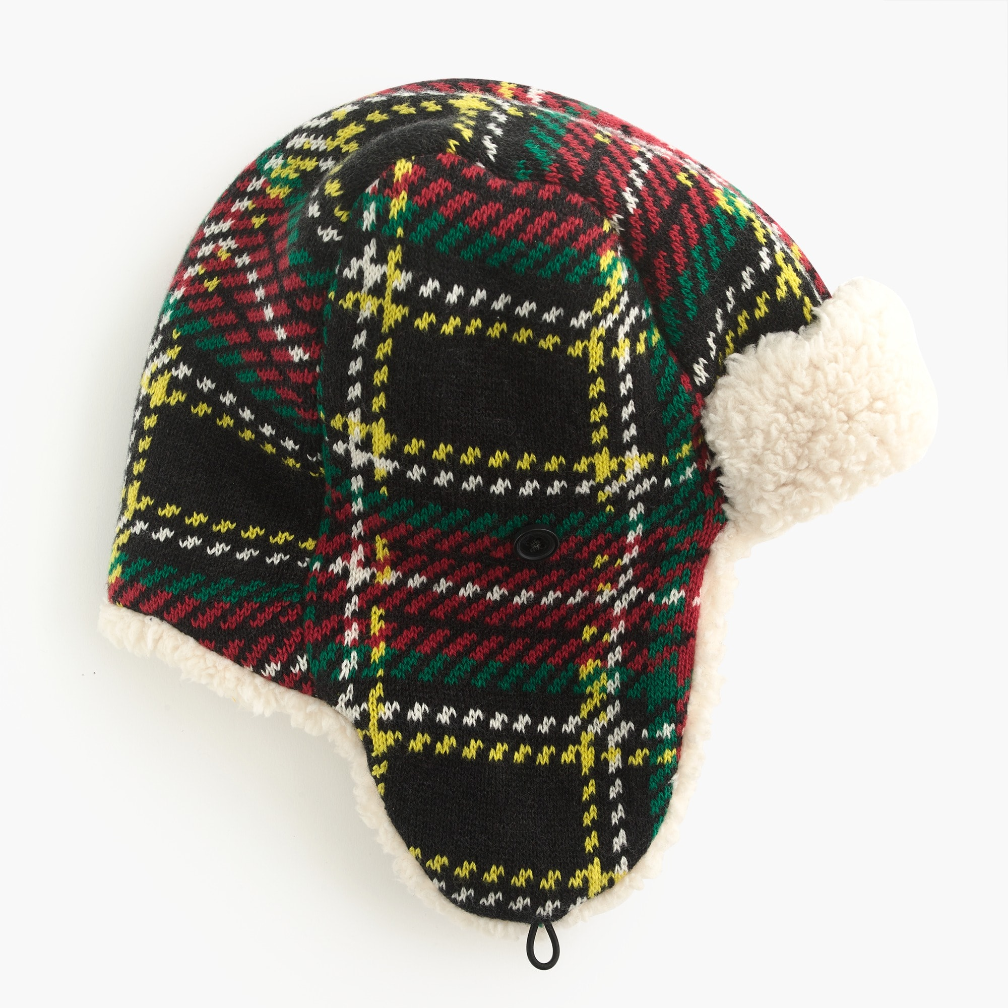 boys Kids' sherpa-lined knit trapper hat in Stewart black tartan
