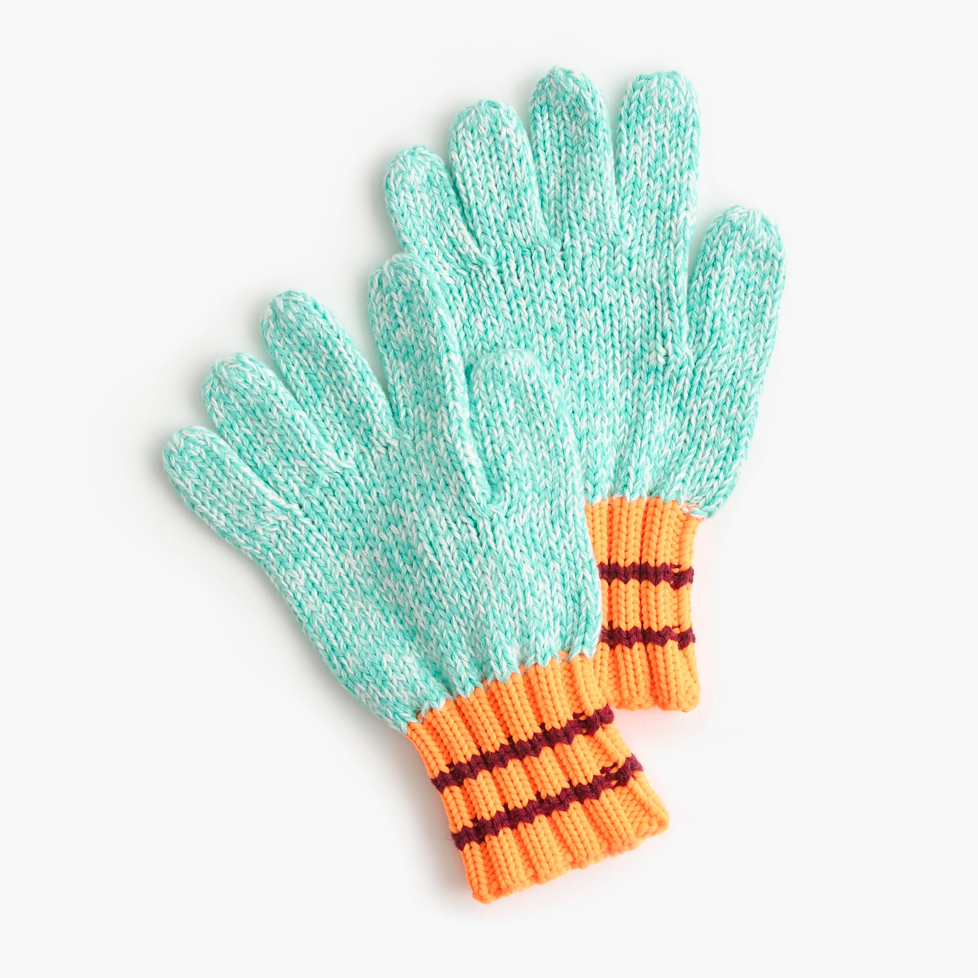 boys Kids' marled cotton gloves with contrasting cuffs