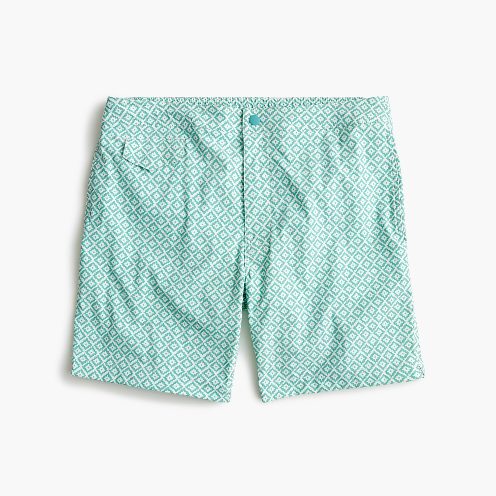 "mens 7"" stretch pool short in geometric print"