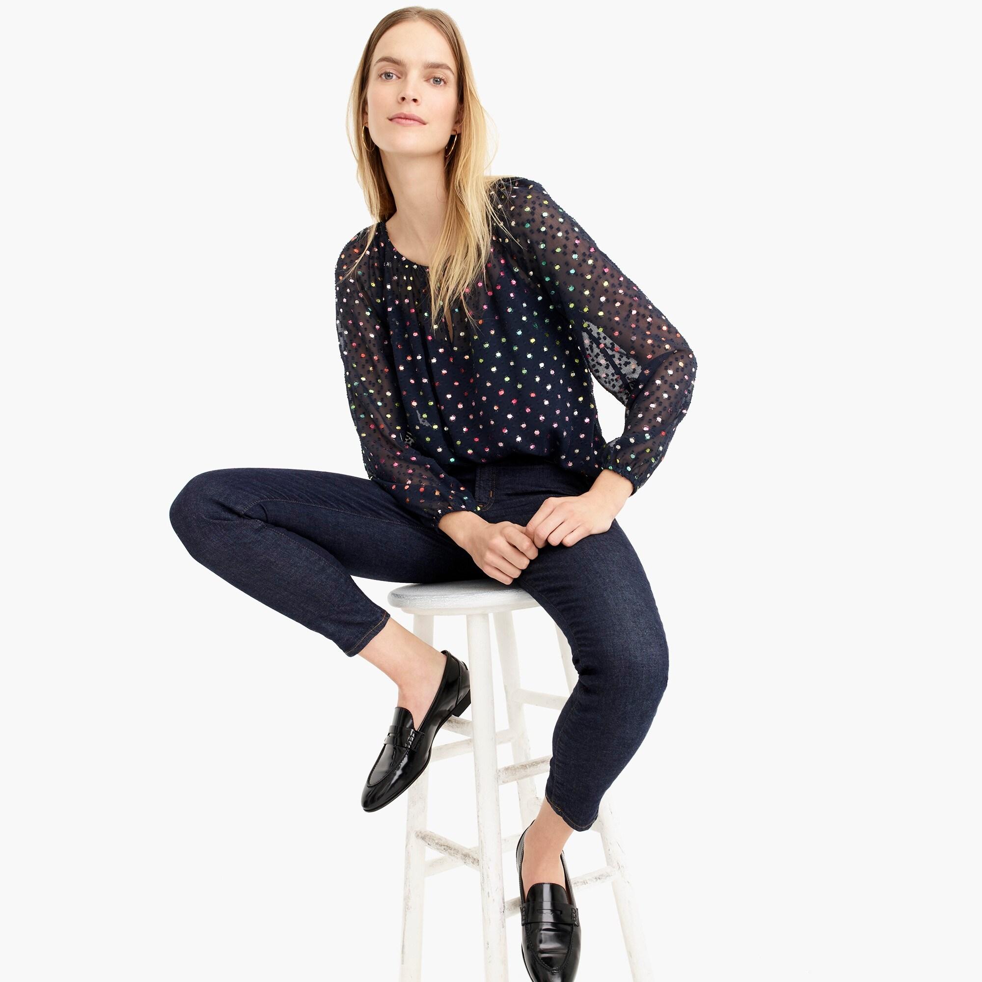 popover in rainbow clip dot chiffon : women blouse