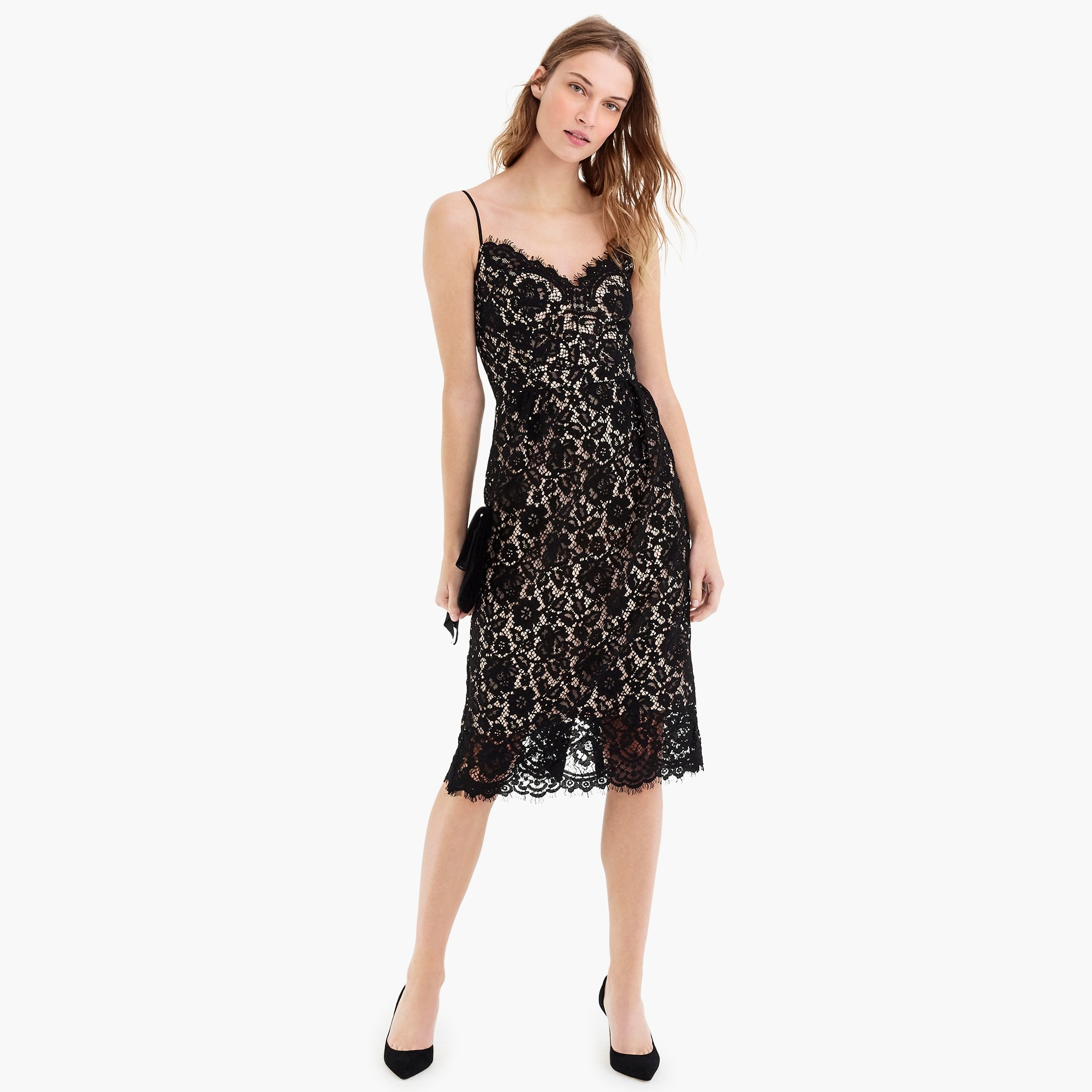 womens Spaghetti-strap dress in lace
