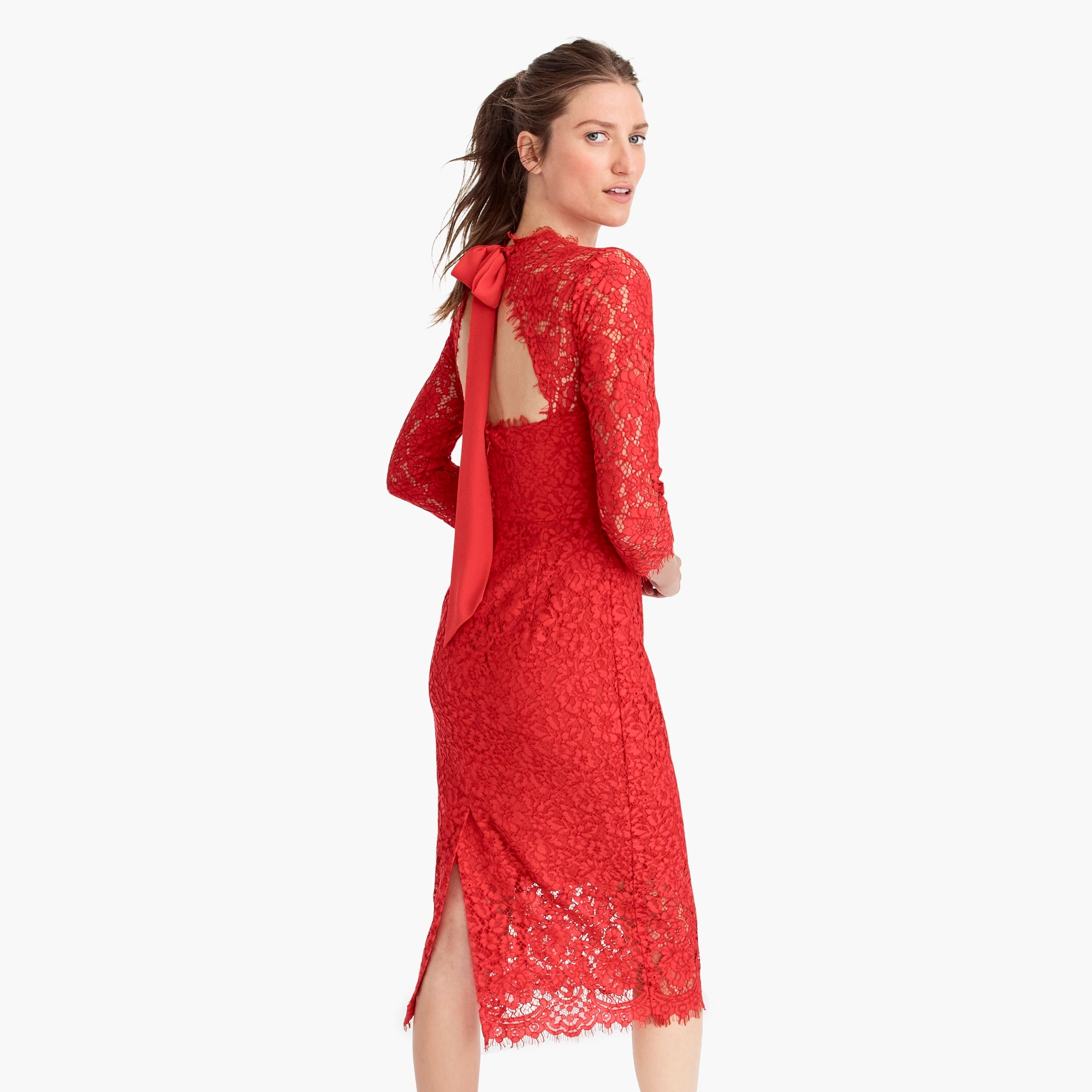 womens Long-sleeve lace sheath dress