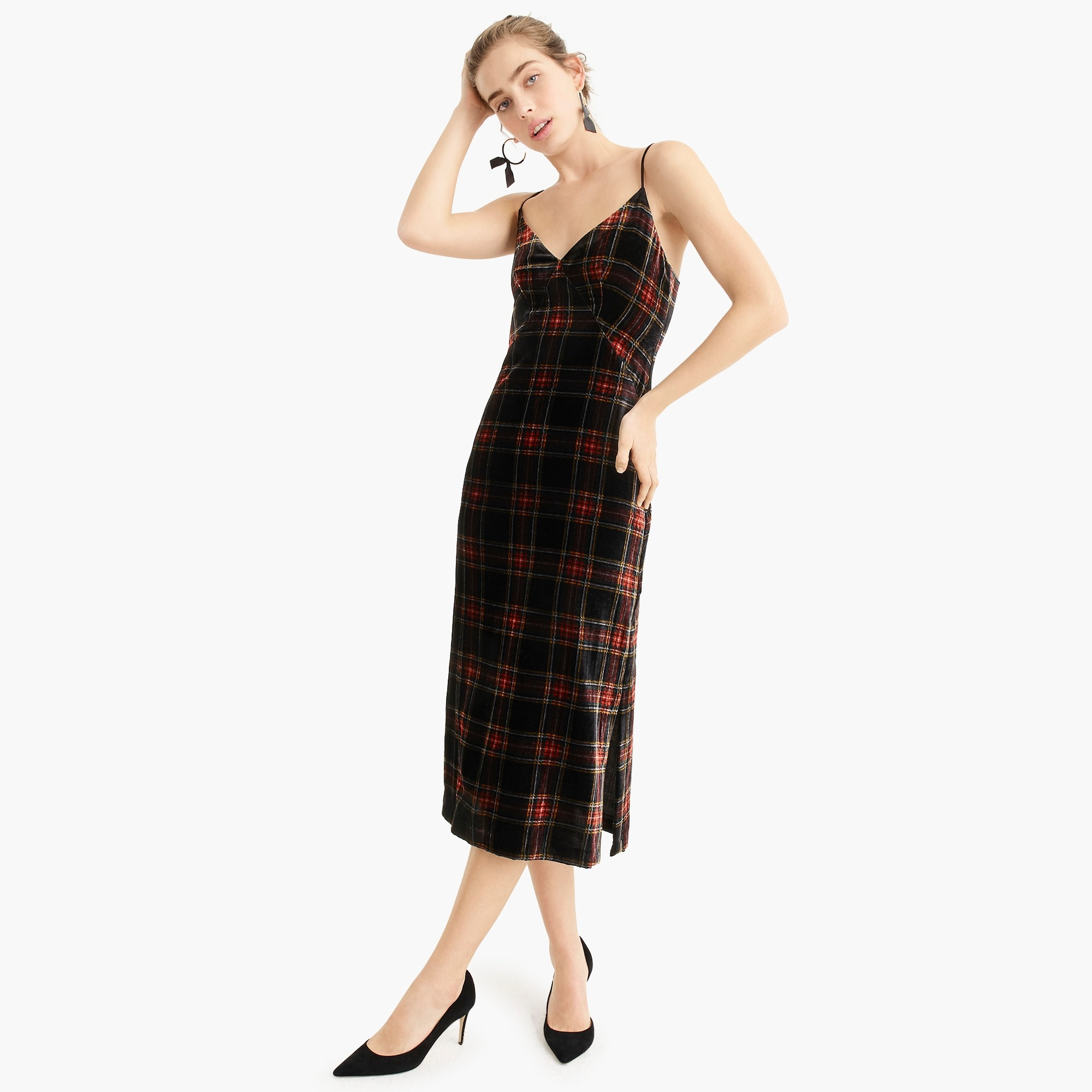 womens Spaghetti-strap midi dress in velvet Stewart tartan