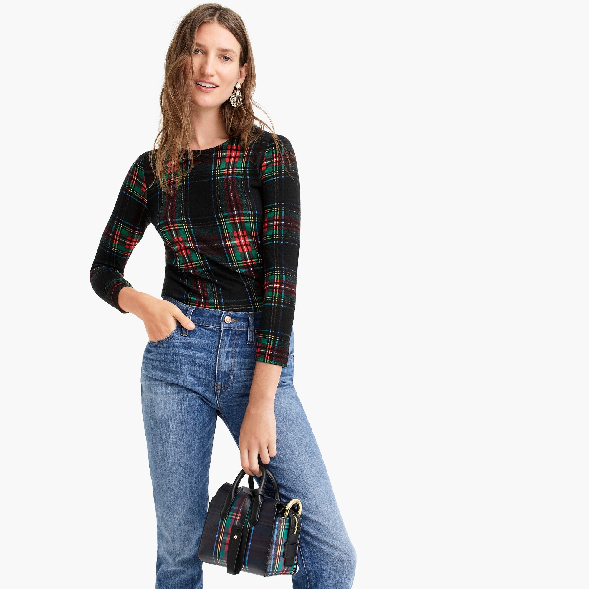 womens Tippi sweater in Stewart plaid