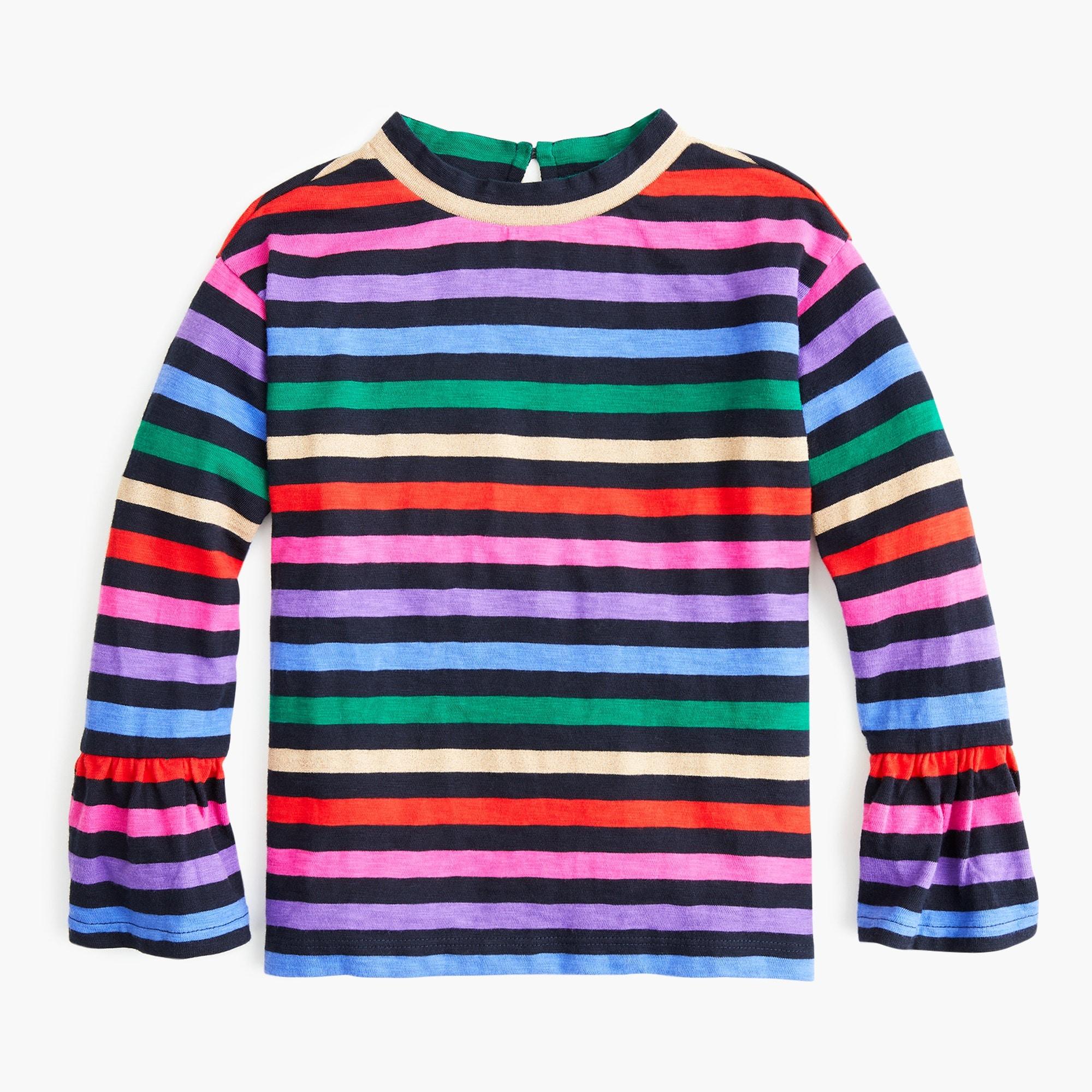 girls Girls' rainbow-striped top with flare sleeves