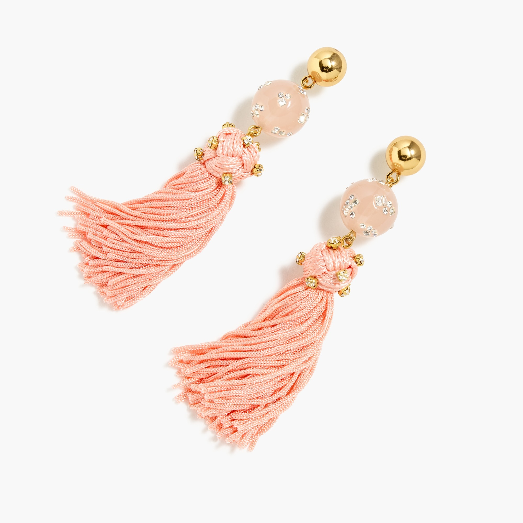 womens Crystal-studded bead and tassel earrings