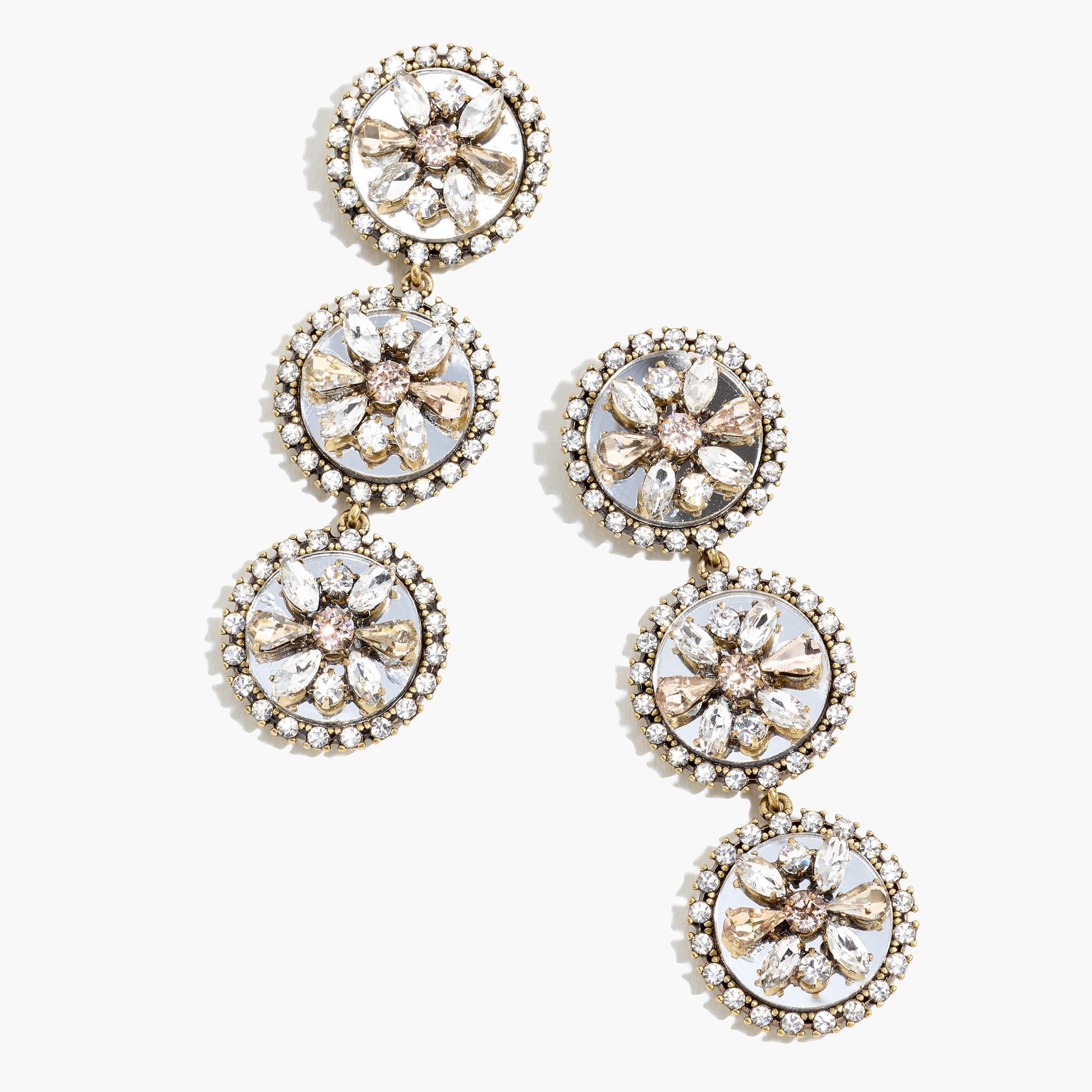 Crystal mirror statement earrings