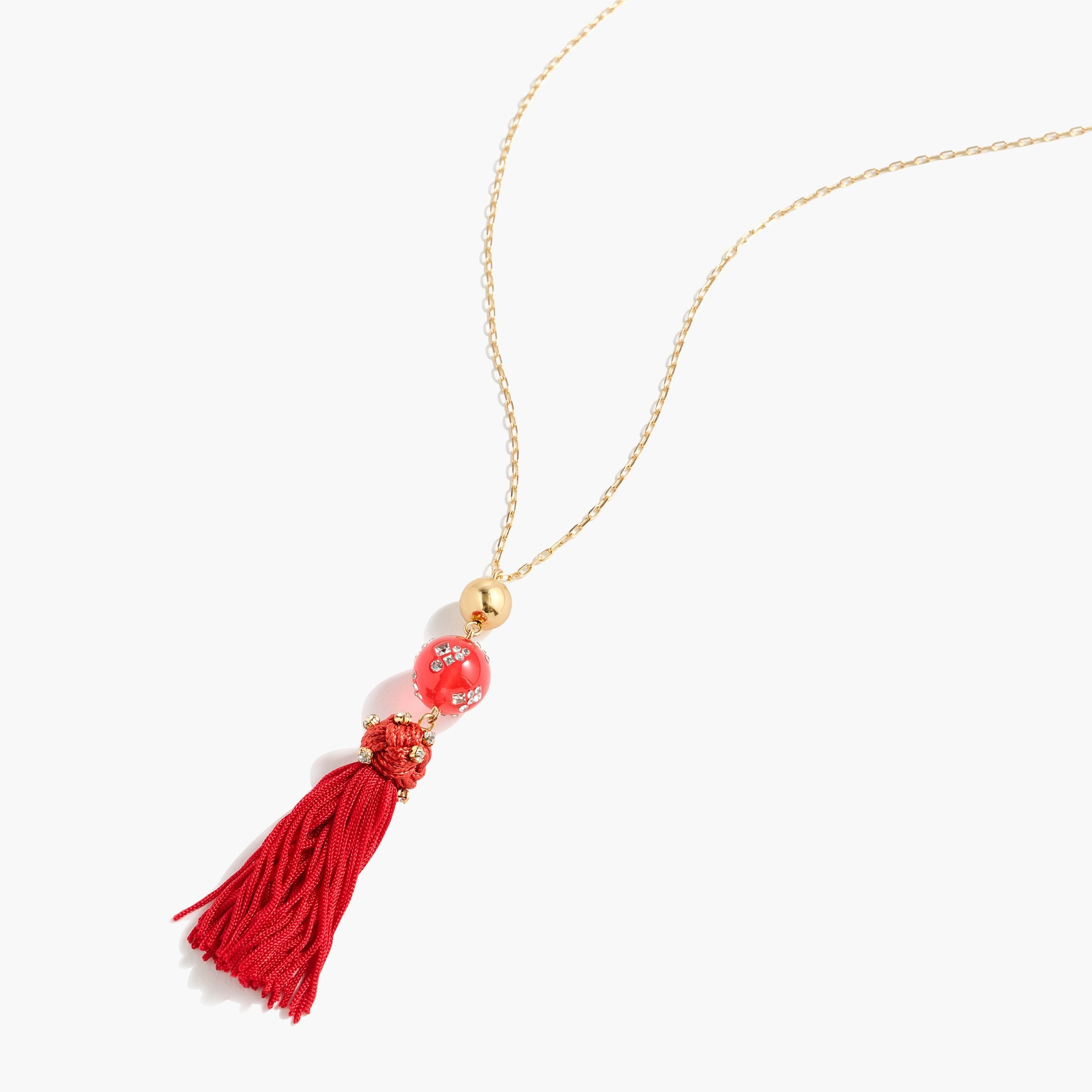 womens Crystal-studded bead and tassel necklace