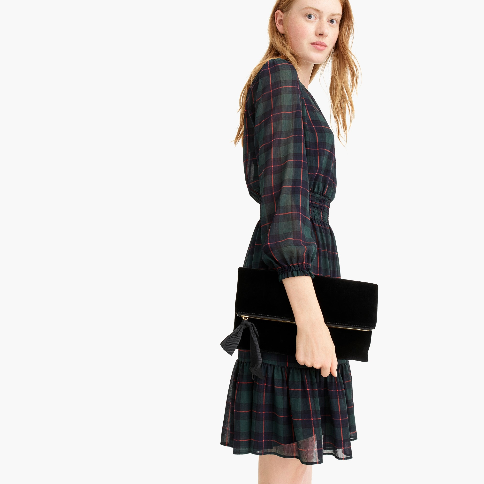 womens Cinched-waist dress in Black Watch plaid chiffon