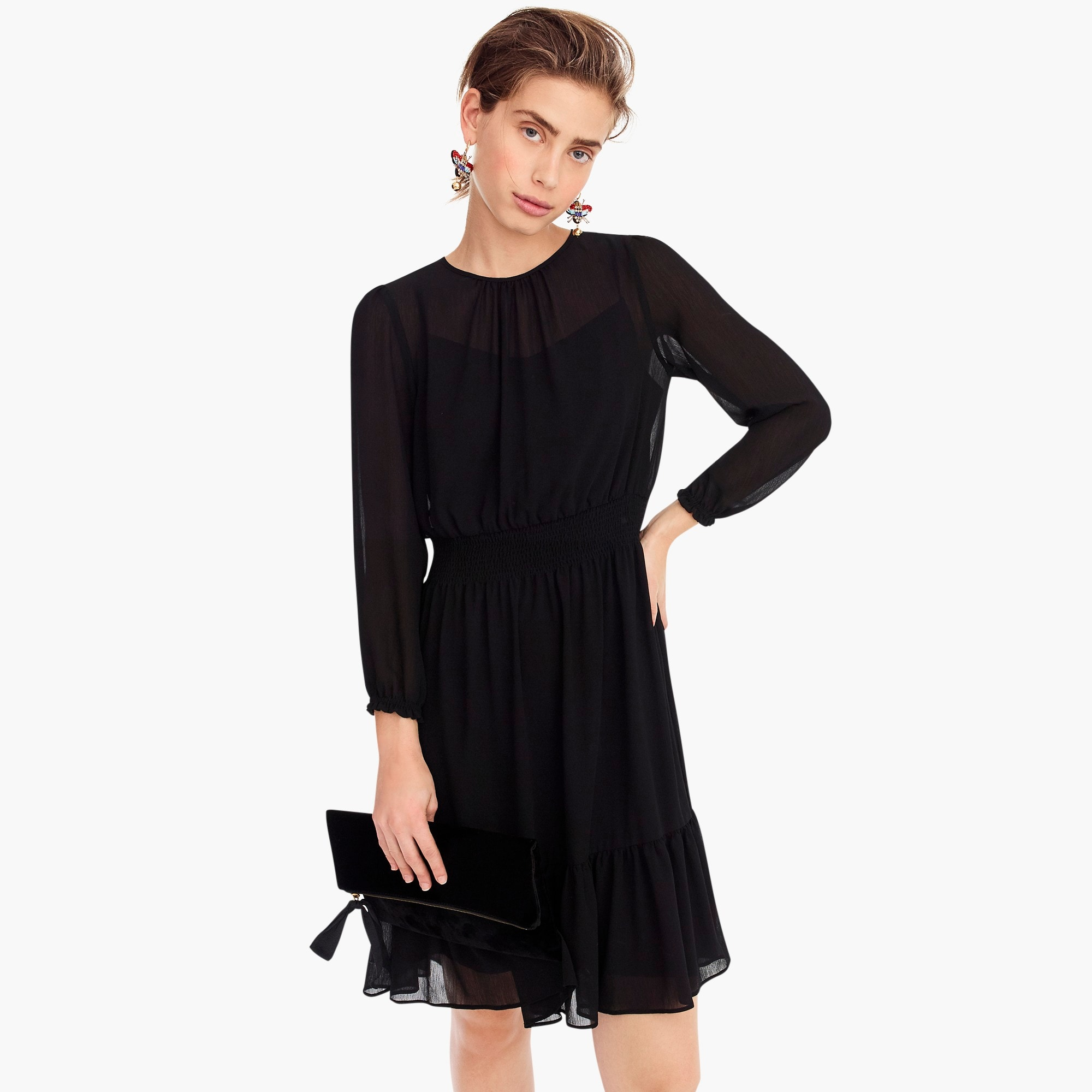 Cinched-waist dress in chiffon