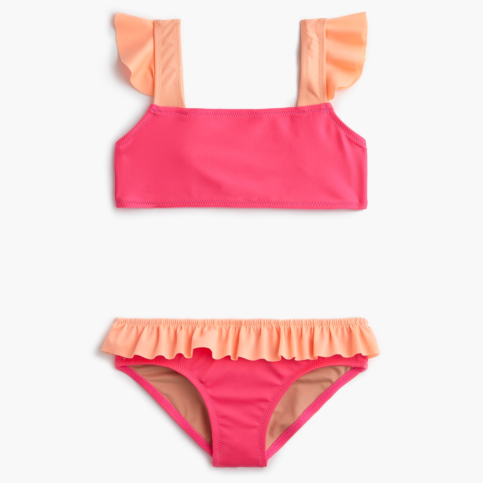 girls Girls' ruffled bikini set in colorblock
