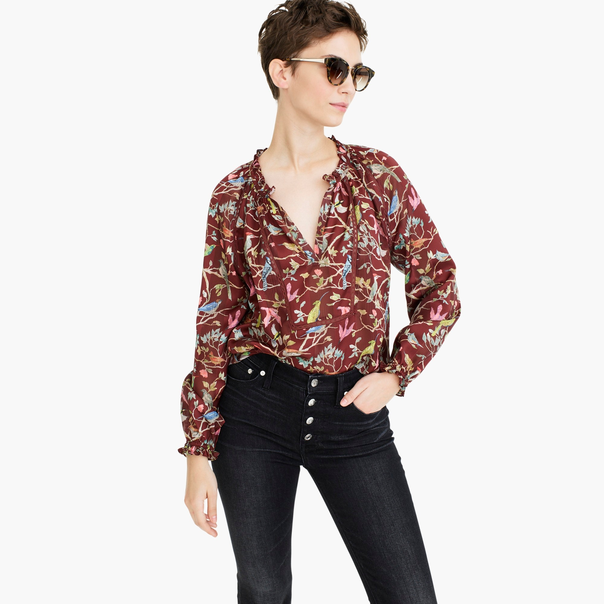 womens Point Sur ruffle-neck popover in menagerie print