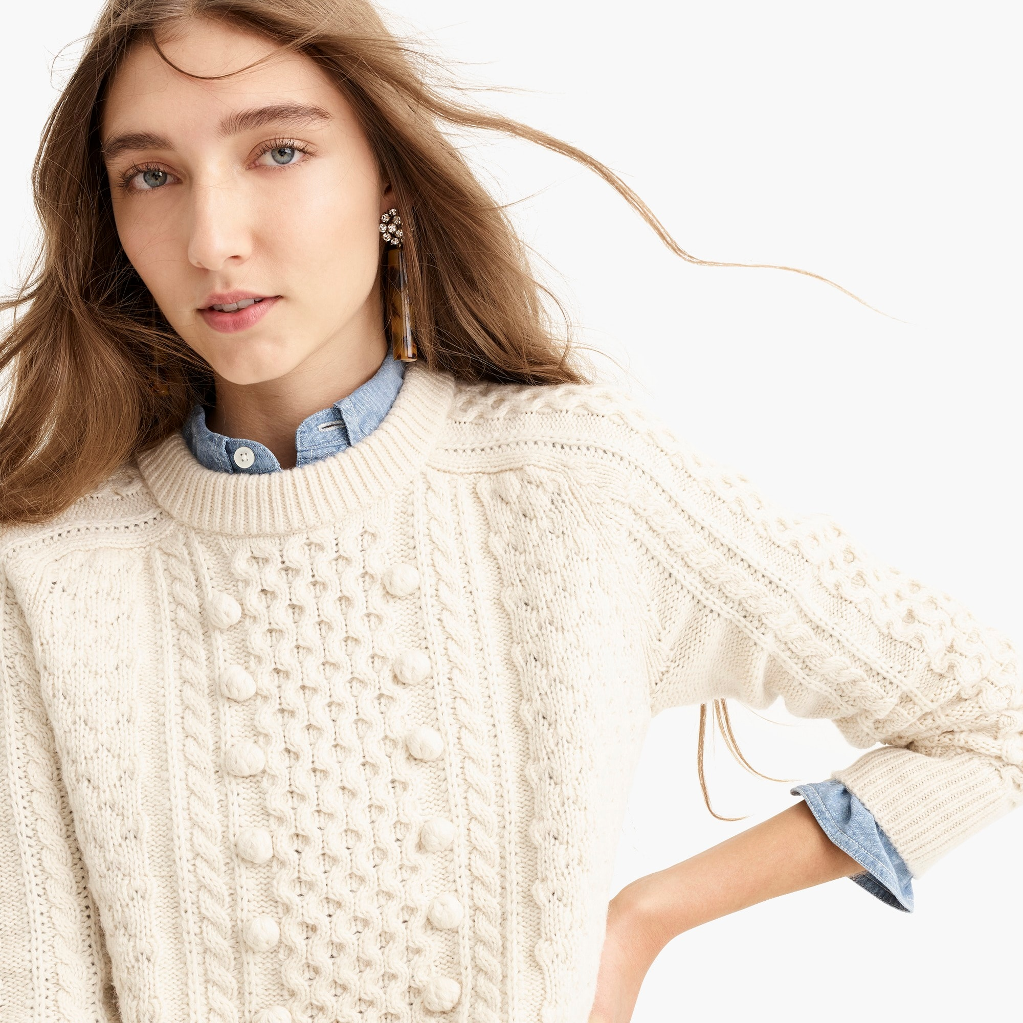 womens Popcorn cable-knit sweater
