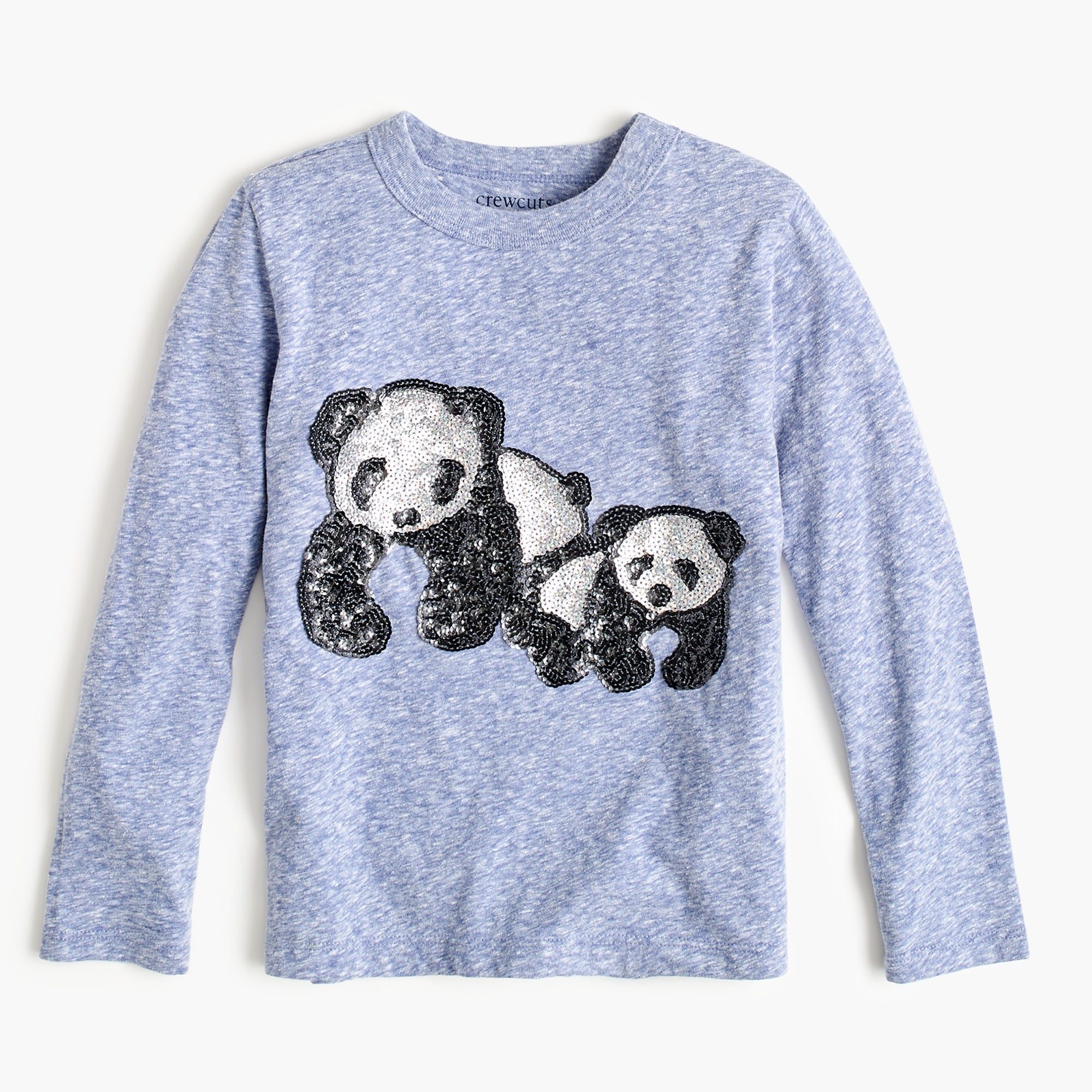 girls Girls' long-sleeve T-shirt with sequin pandas