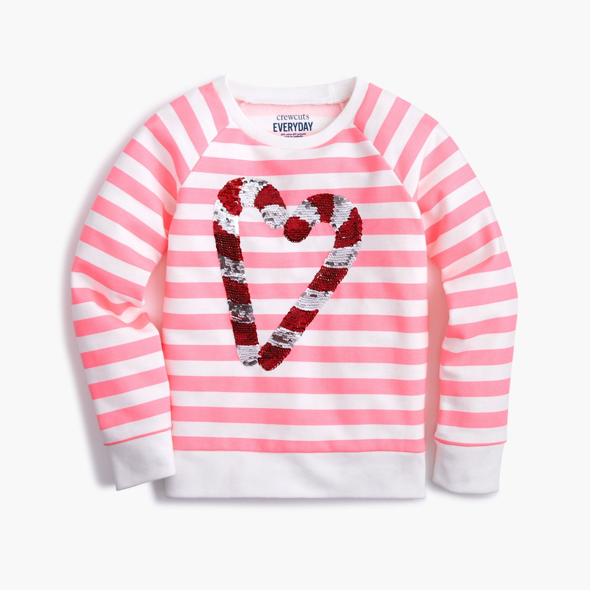 girls Girls' reversible sequin candy cane sweatshirt