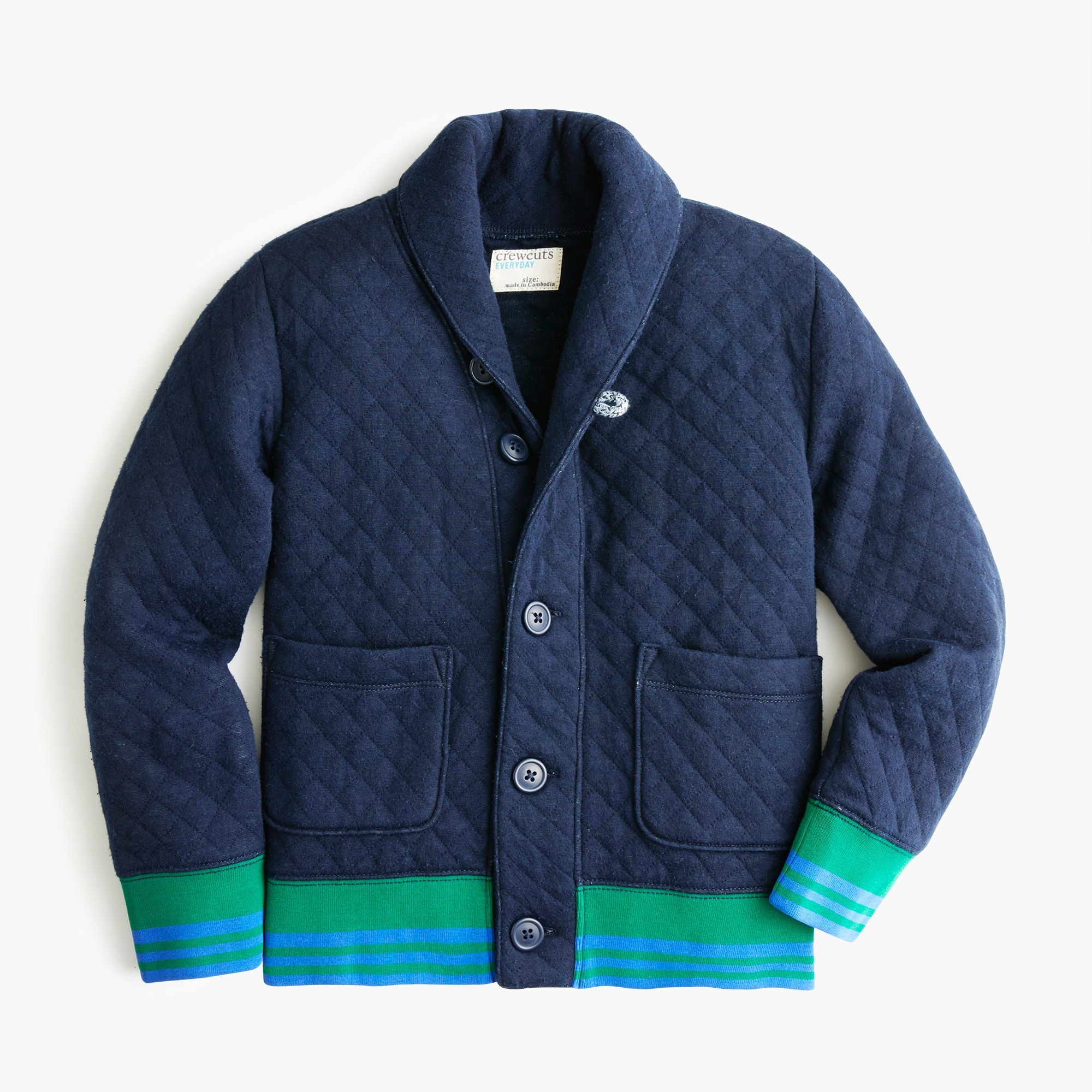 boys Boys' shawl-collar quilted sweatshirt
