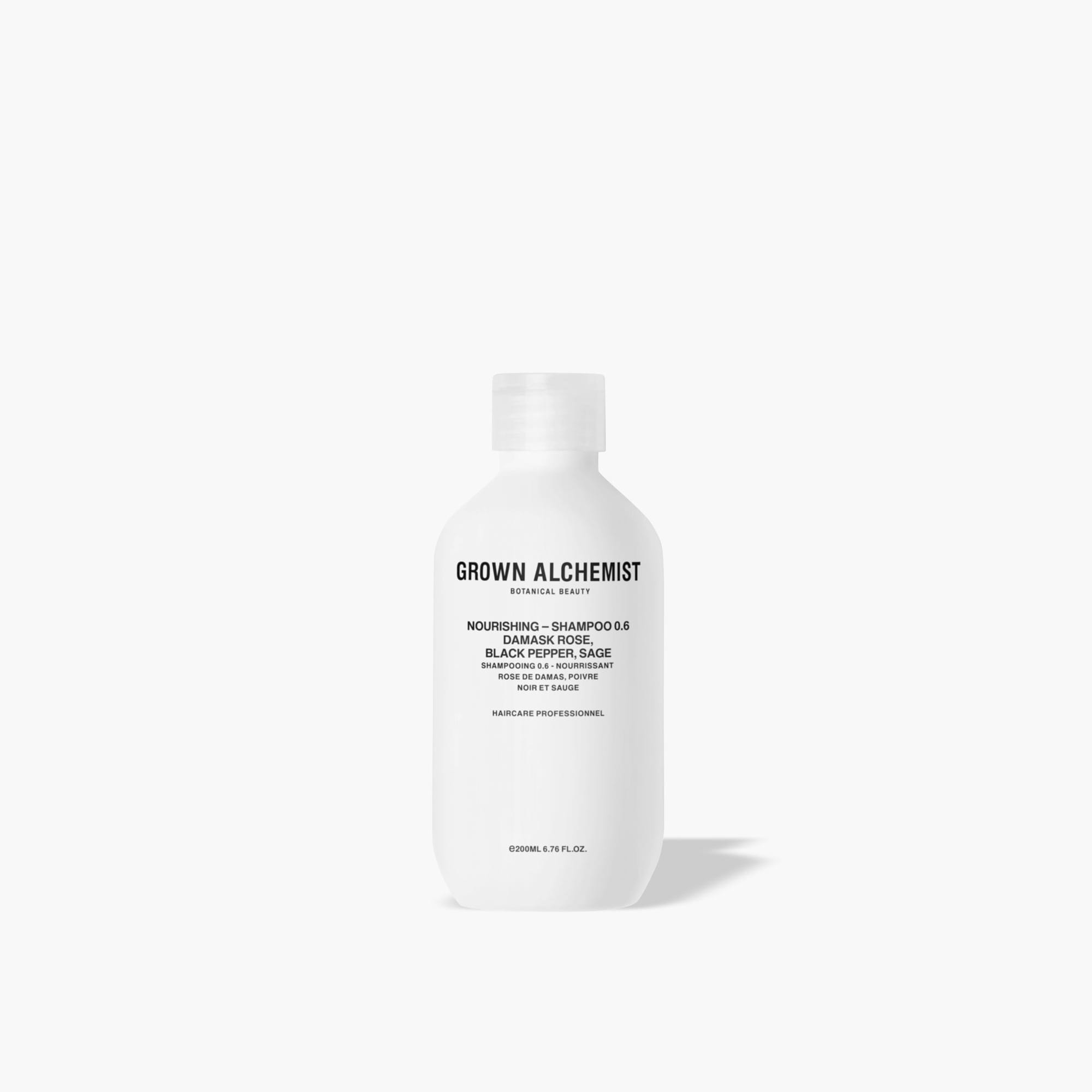 mens GROWN ALCHEMIST® 200 ml nourishing shampoo 0.6 - damask rose, black pepper and sage
