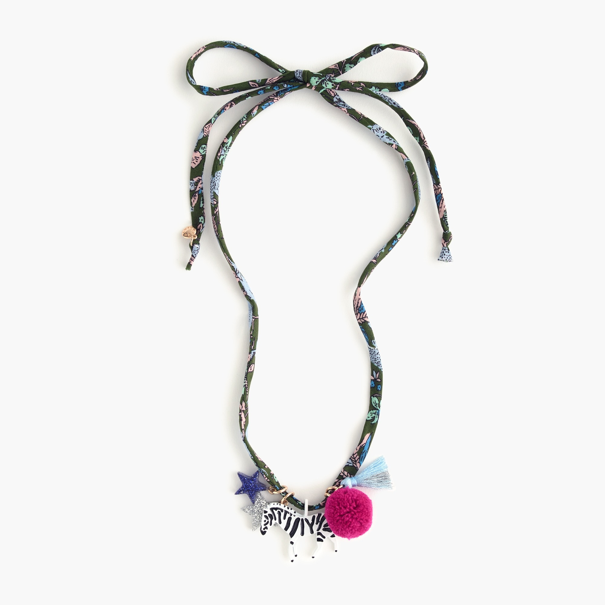 girls' fabric charm necklace : girl accessories