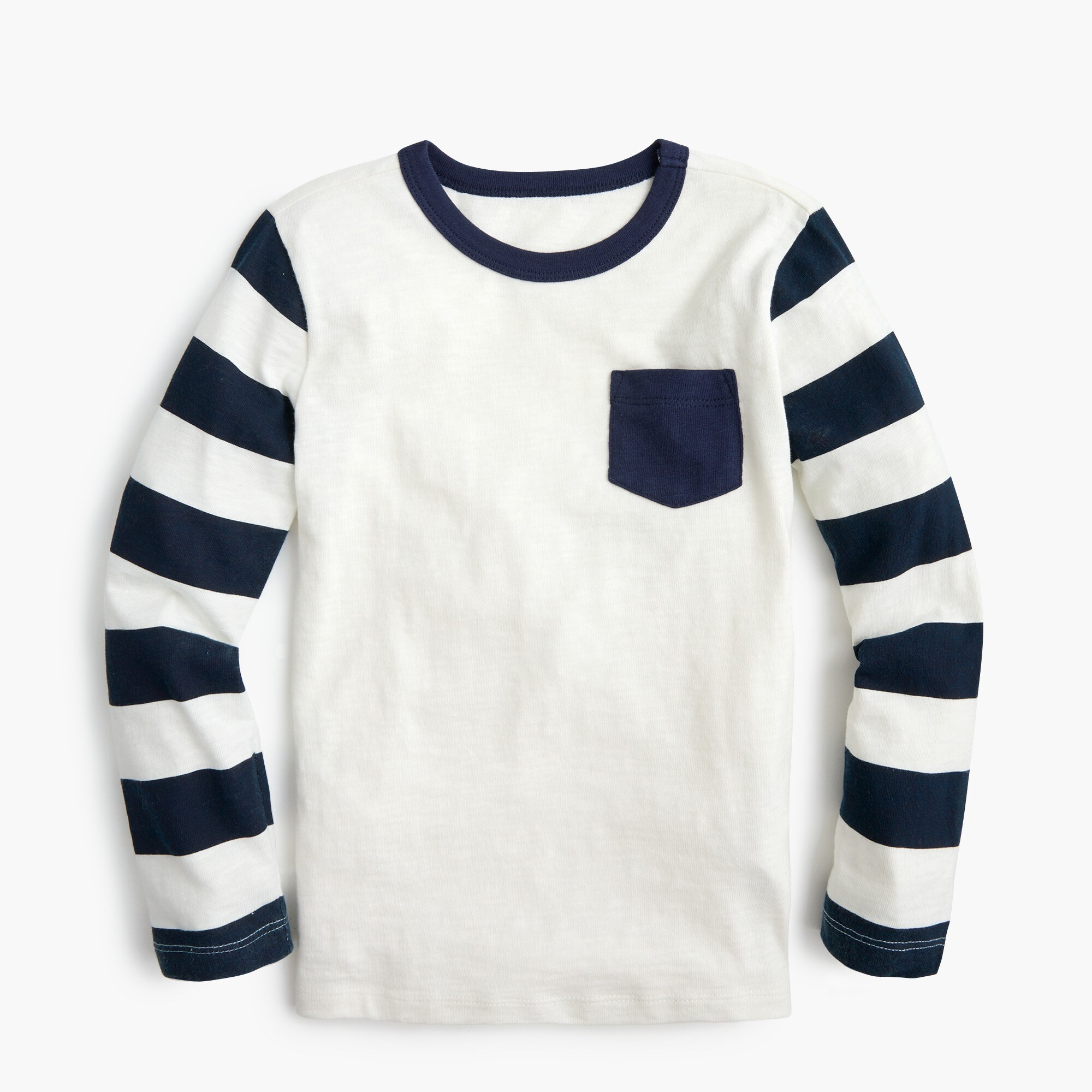 boys Boys' long-sleeve contrast-pocket T-shirt with striped sleeves