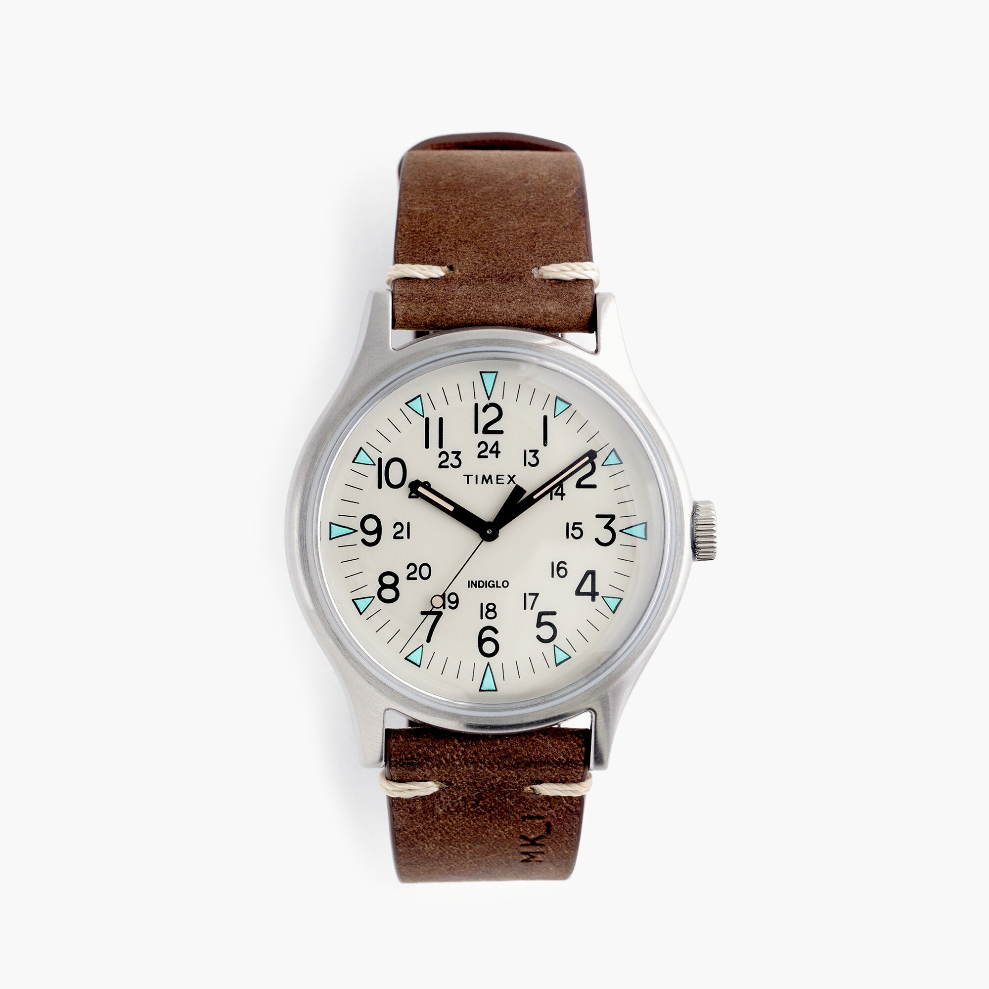 mens Timex® leather strap watch