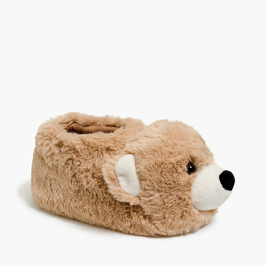 j.crew factory: kids' bear slippers for boys, right side, view zoomed