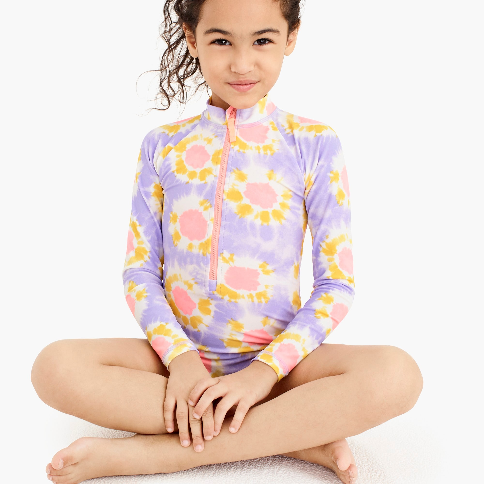 girls Girls' long-sleeve one-piece swimsuit in tie-dye