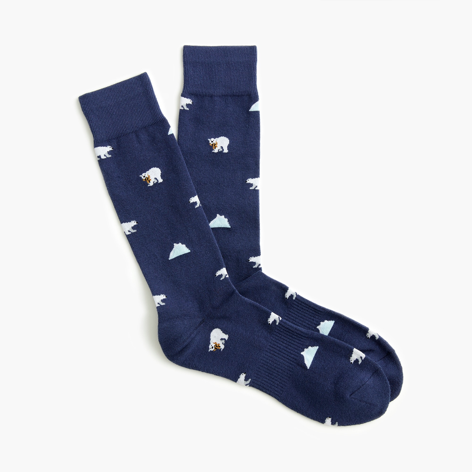 polar bear print padded footbed socks : men for getting cozy