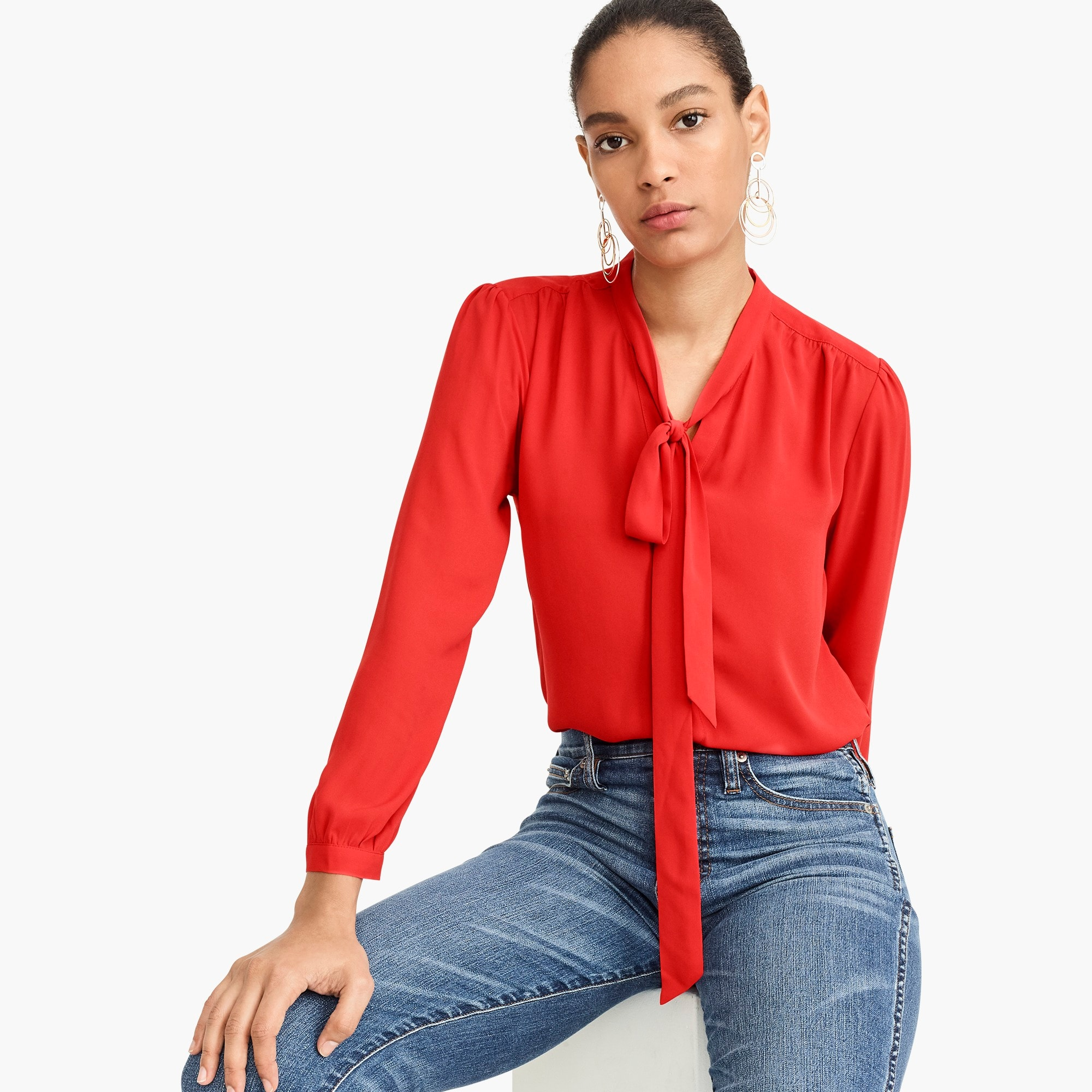 tie-neck button-up shirt : women blouse