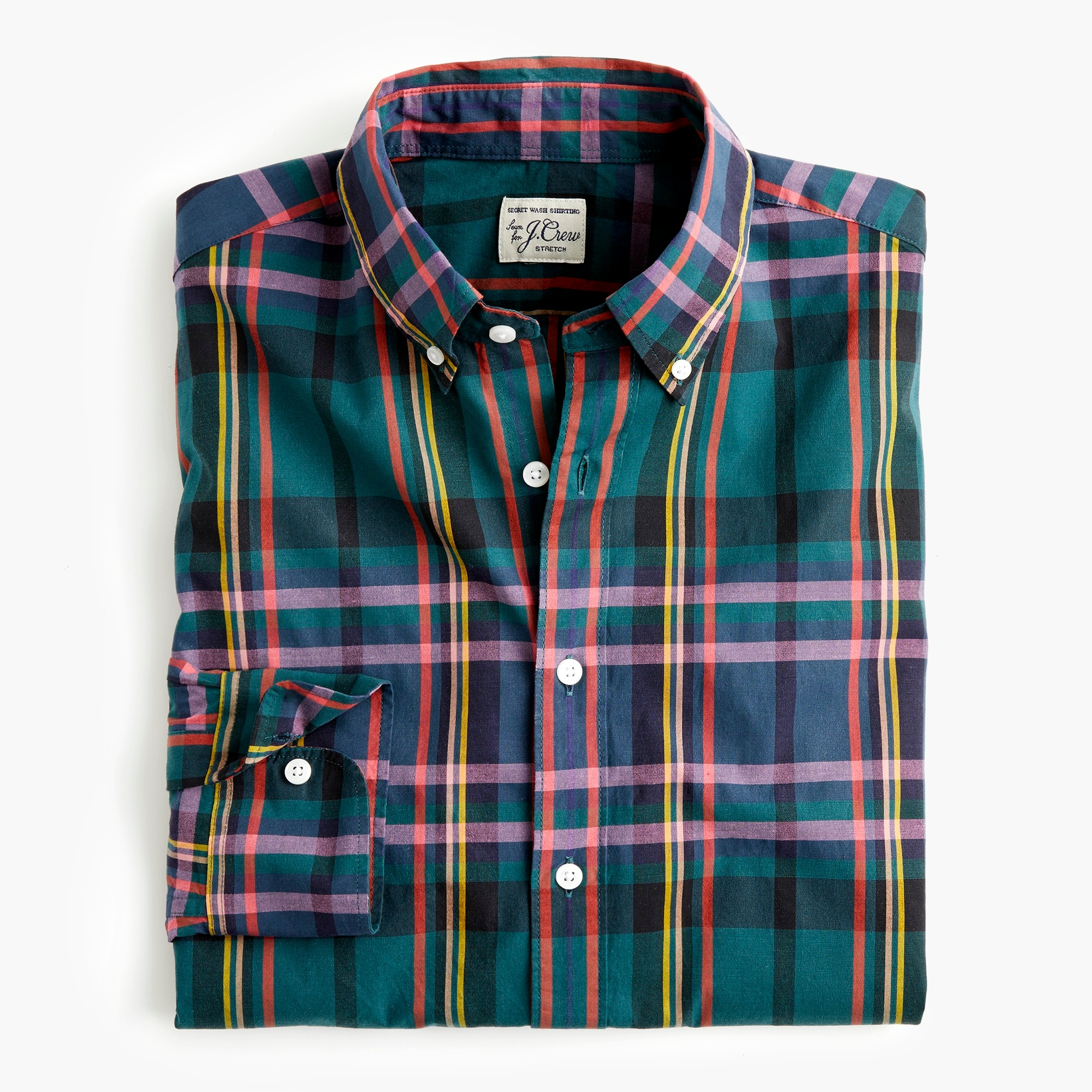 mens Slim stretch Secret Wash shirt in J.Crew Signature Tartan