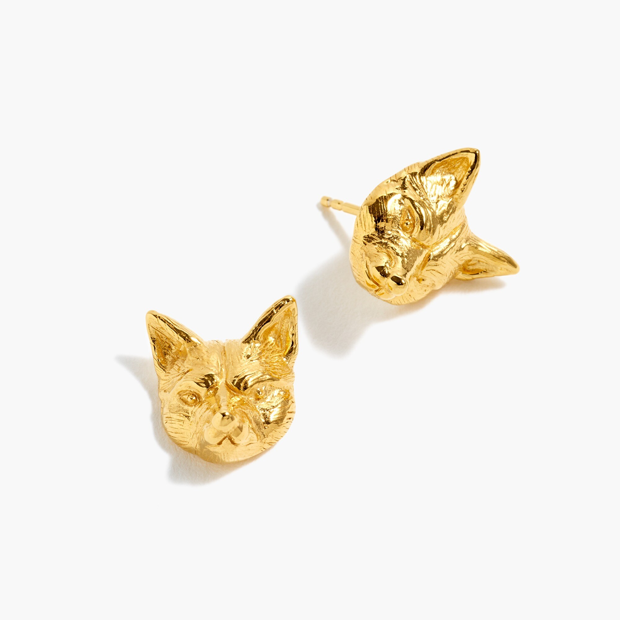 womens Demi-fine 14k gold-plated fox stud earrings