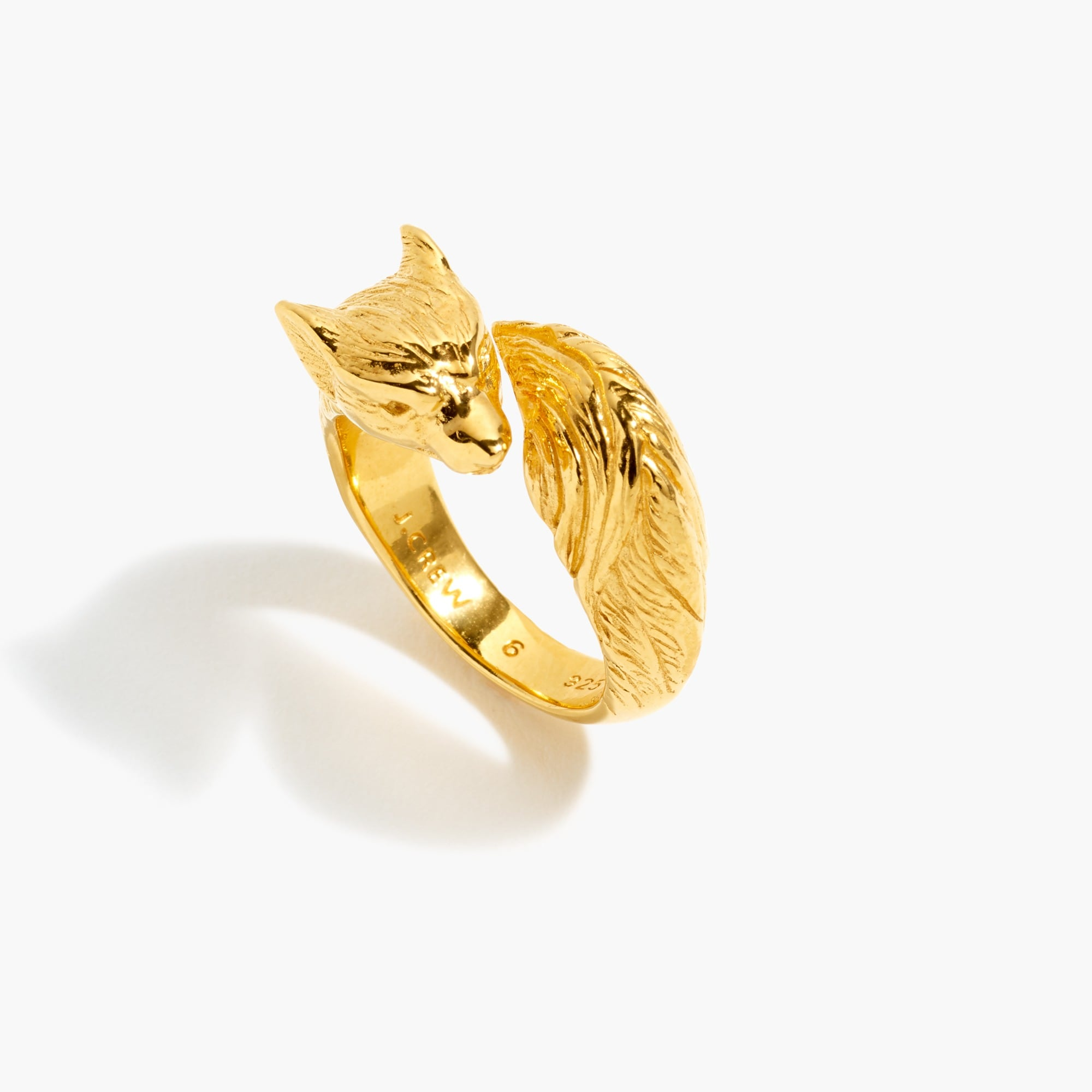 womens Demi-fine 14k gold-plated fox ring