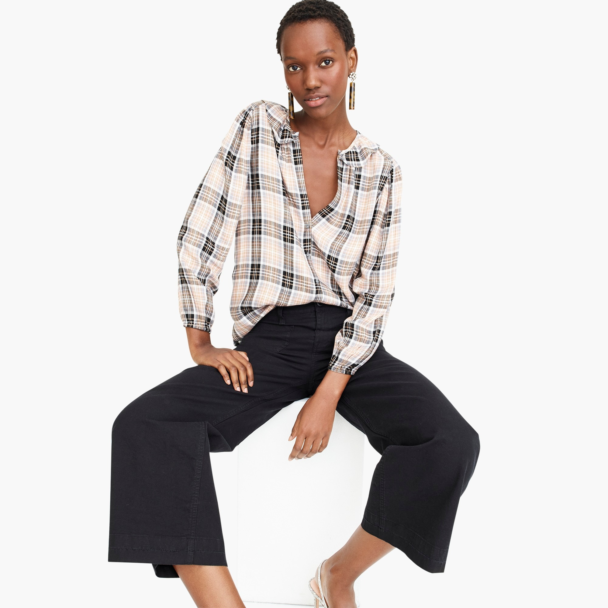 womens Point Sur drapey flannel popover
