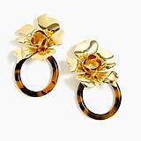 Flower and tortoise door knocker earrings
