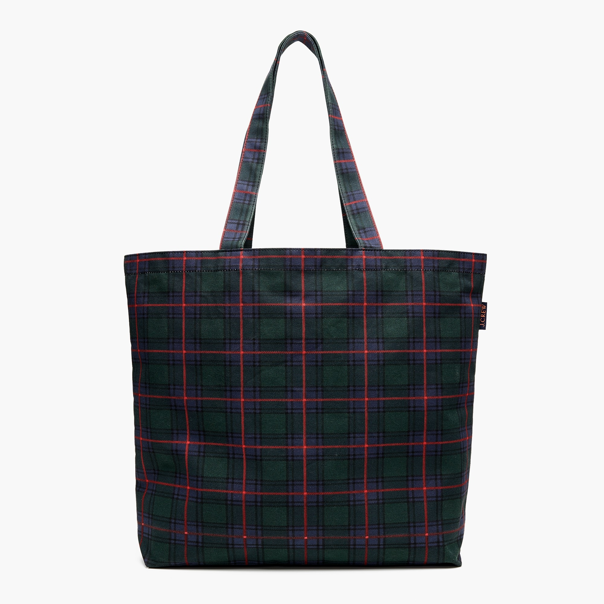 womens Large reusable everyday tote in blackwatch plaid